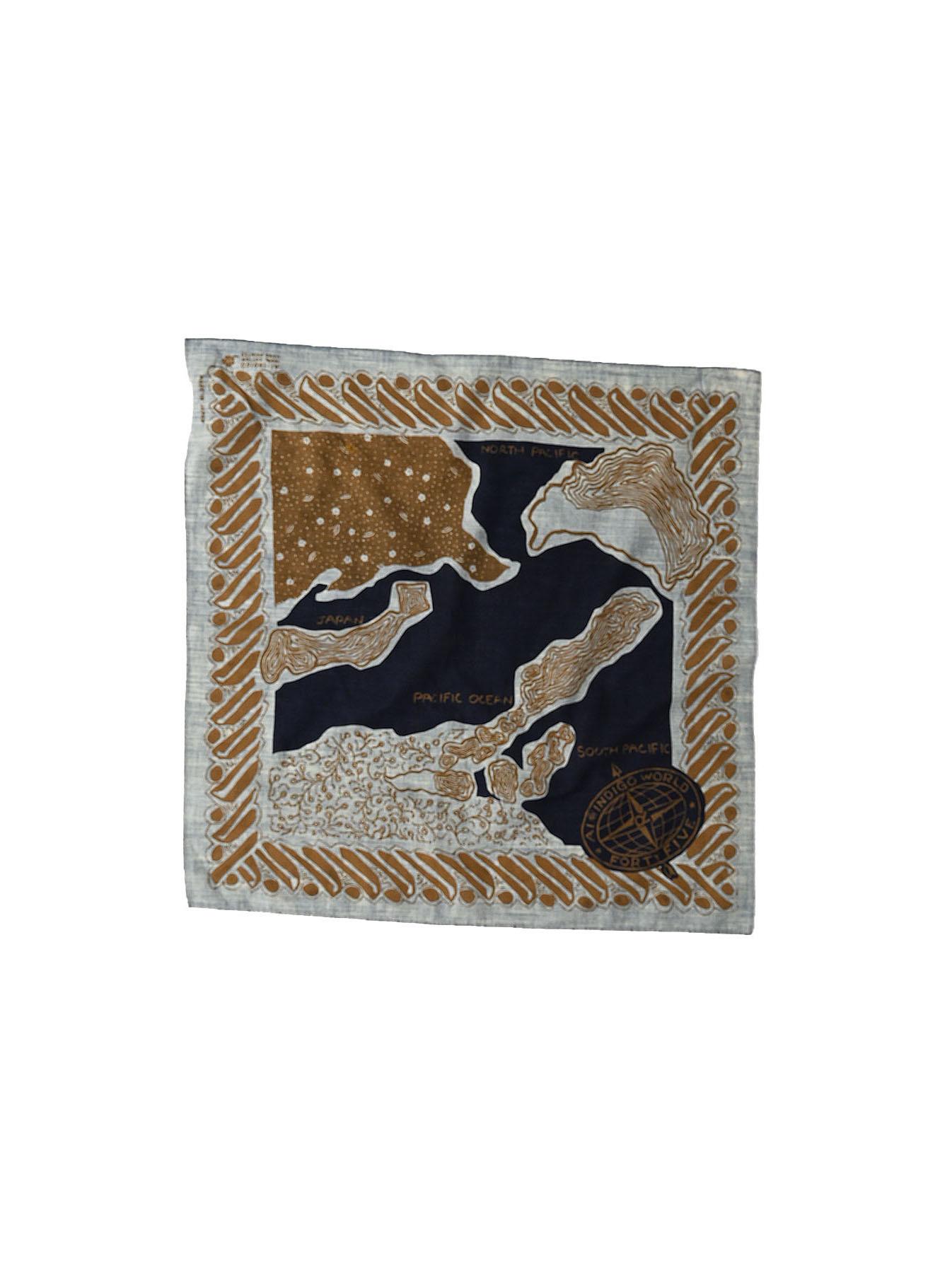 Indigo Selvage Map Bandana (0721)-3
