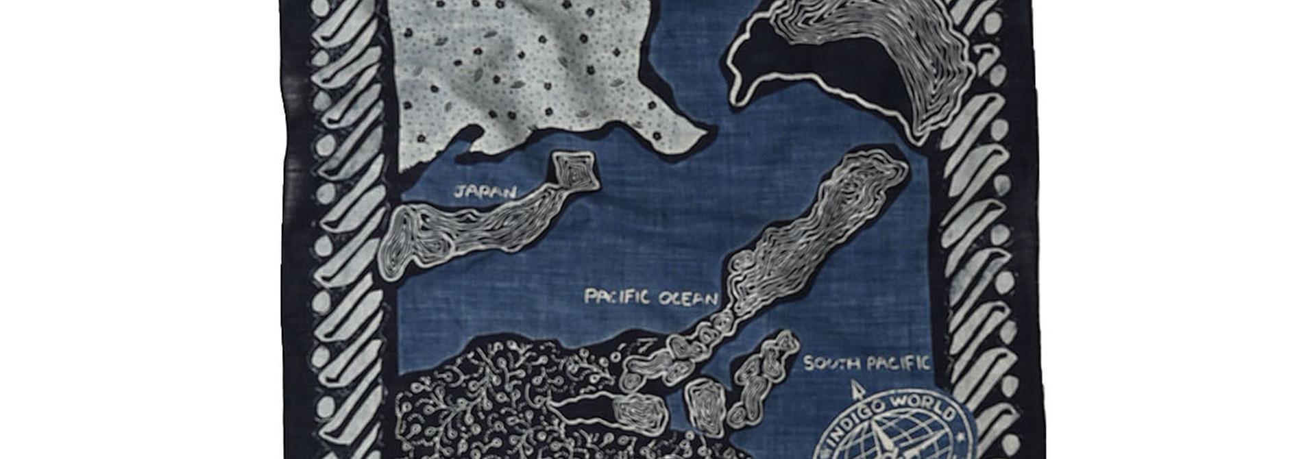 Indigo Selvage Map Bandana (0721)