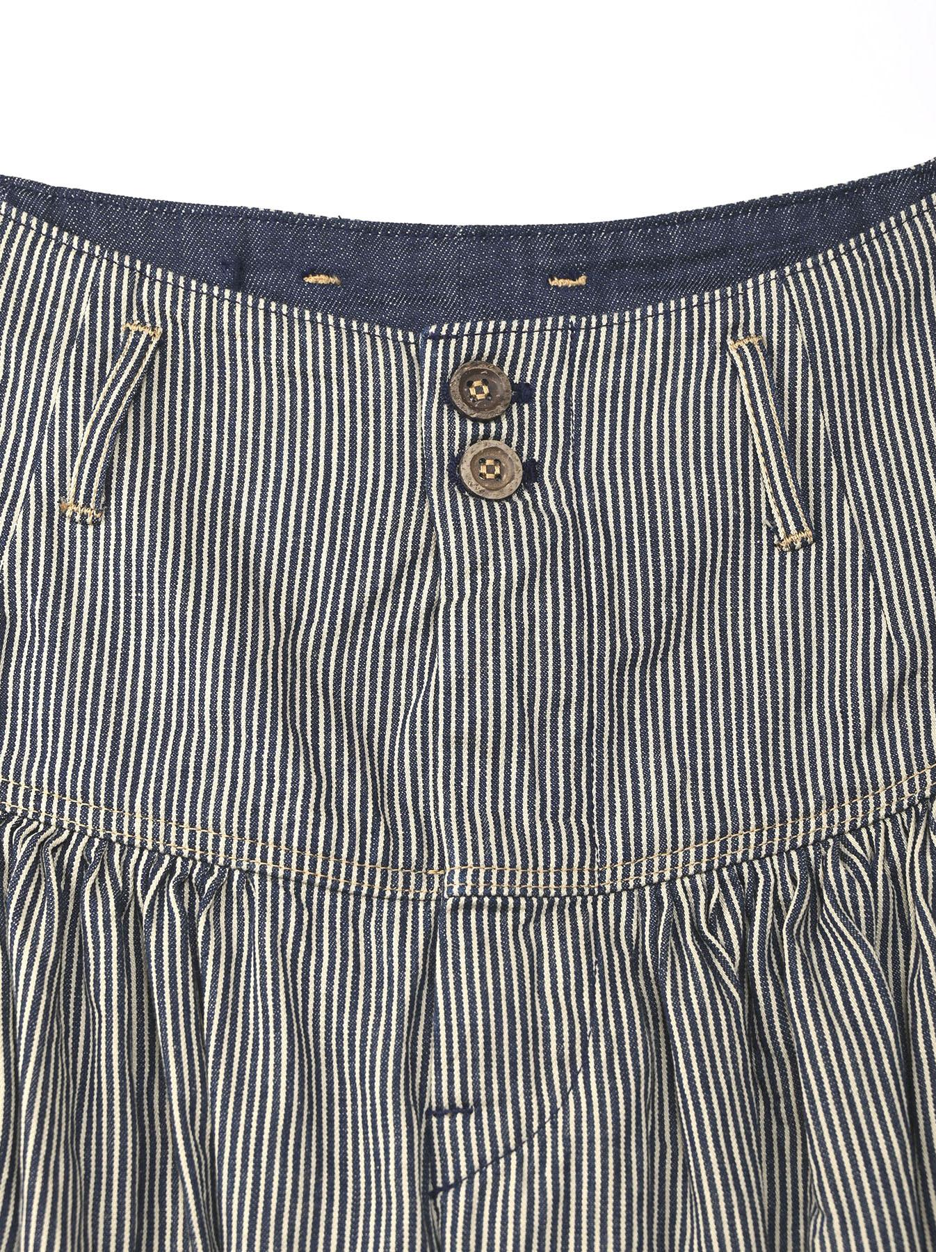 Denim Gathered Culottes Skirt(0721)-7