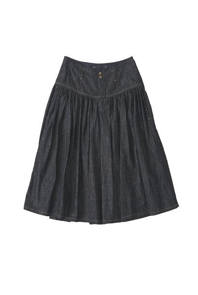 Denim Gathered Culottes Skirt