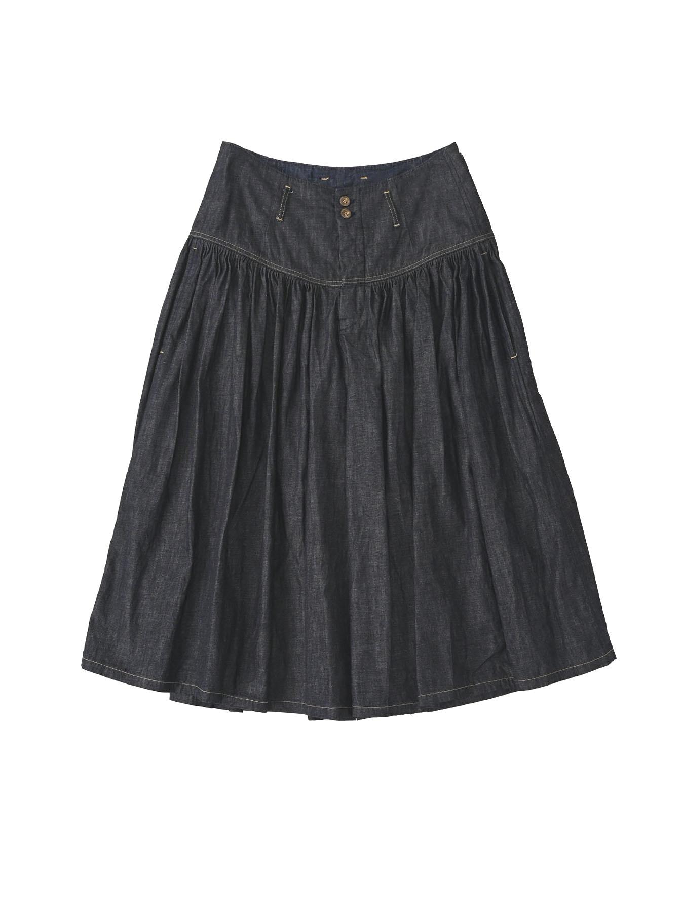 Denim Gathered Culottes Skirt(0721)-1