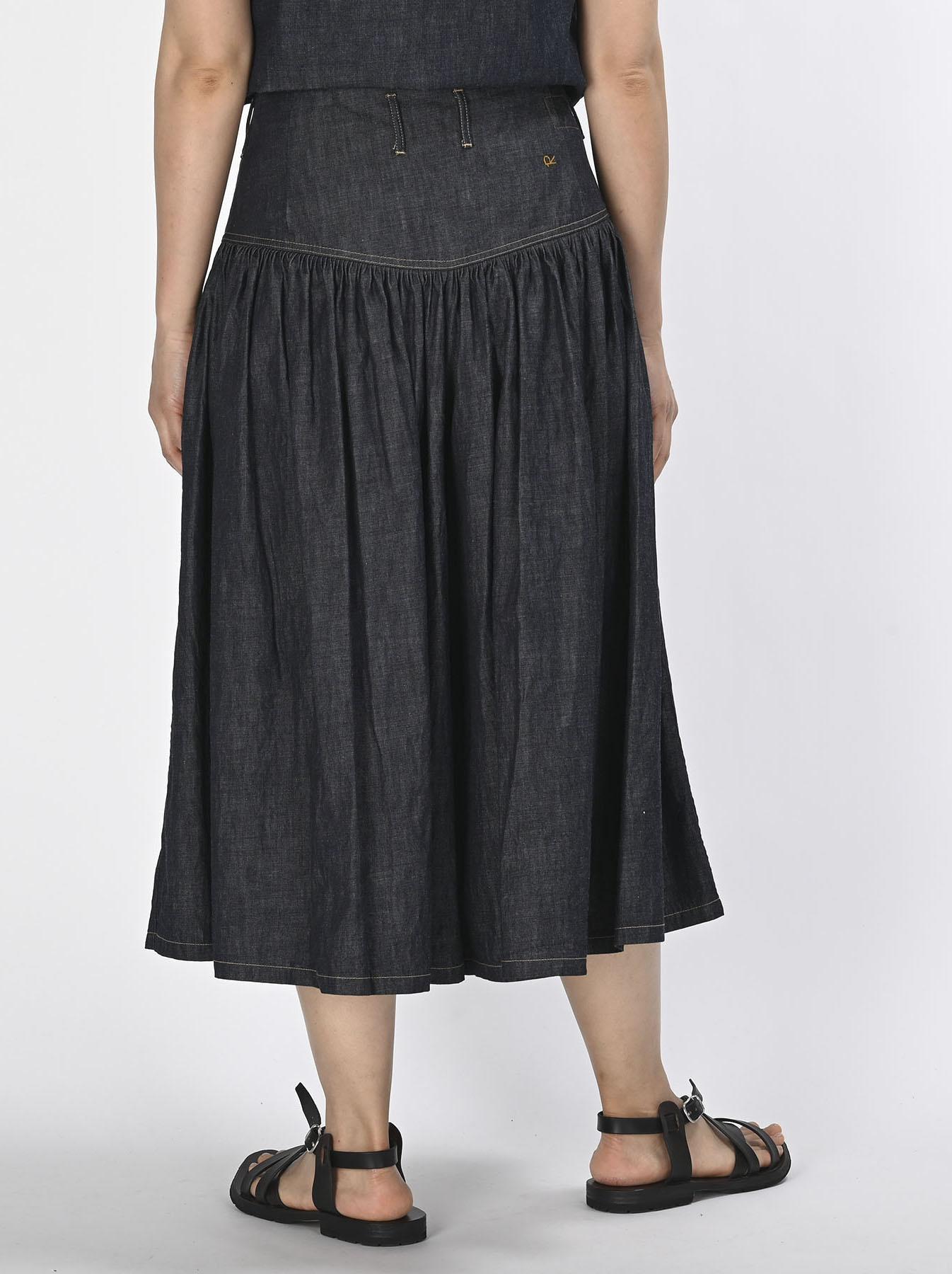 Denim Gathered Culottes Skirt(0721)-5