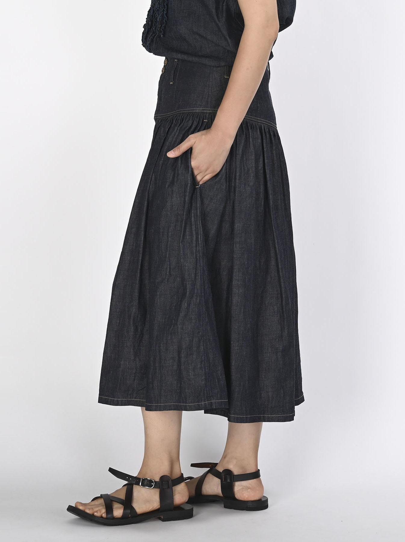 Denim Gathered Culottes Skirt(0721)-4