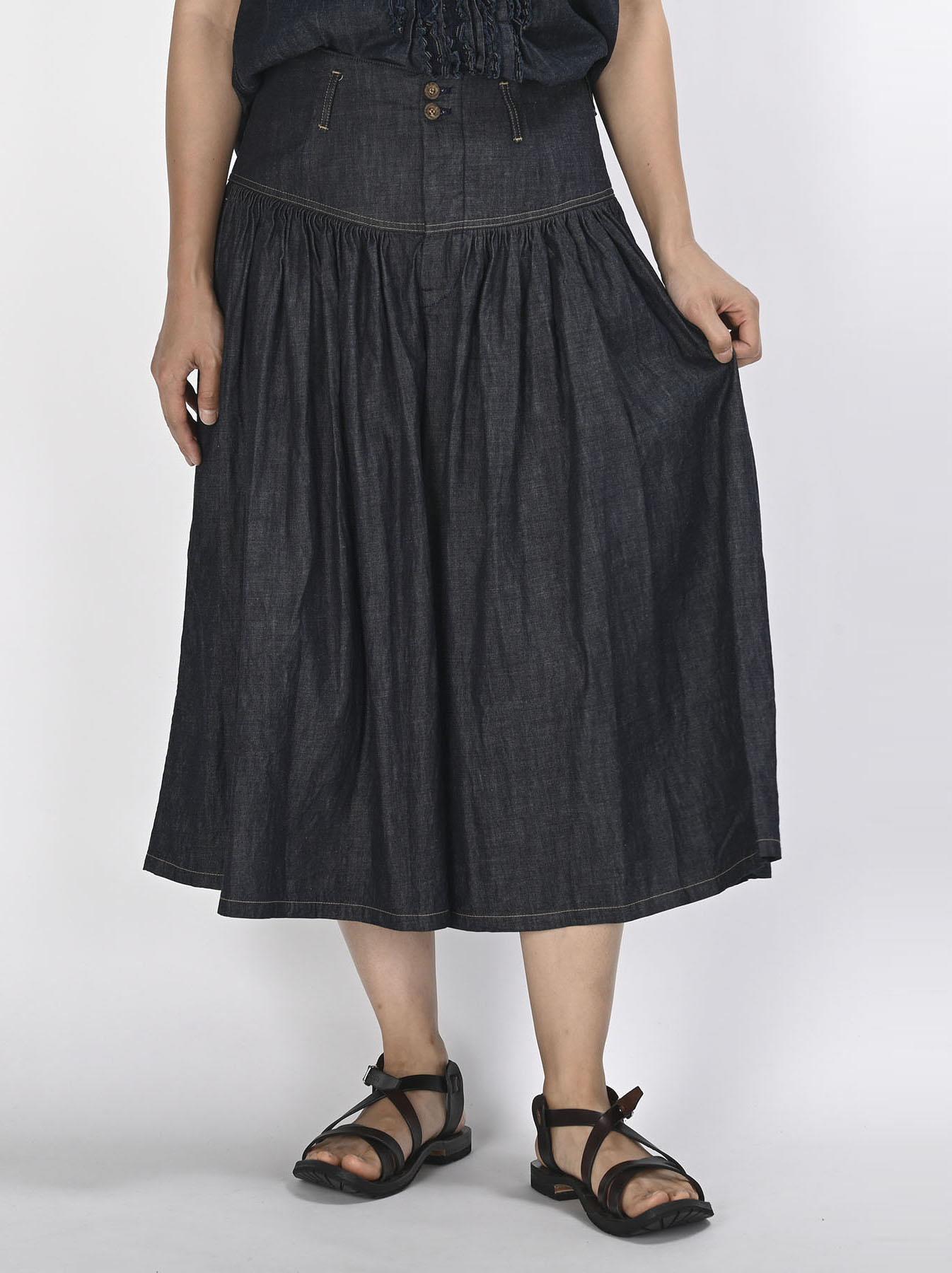 Denim Gathered Culottes Skirt(0721)-3