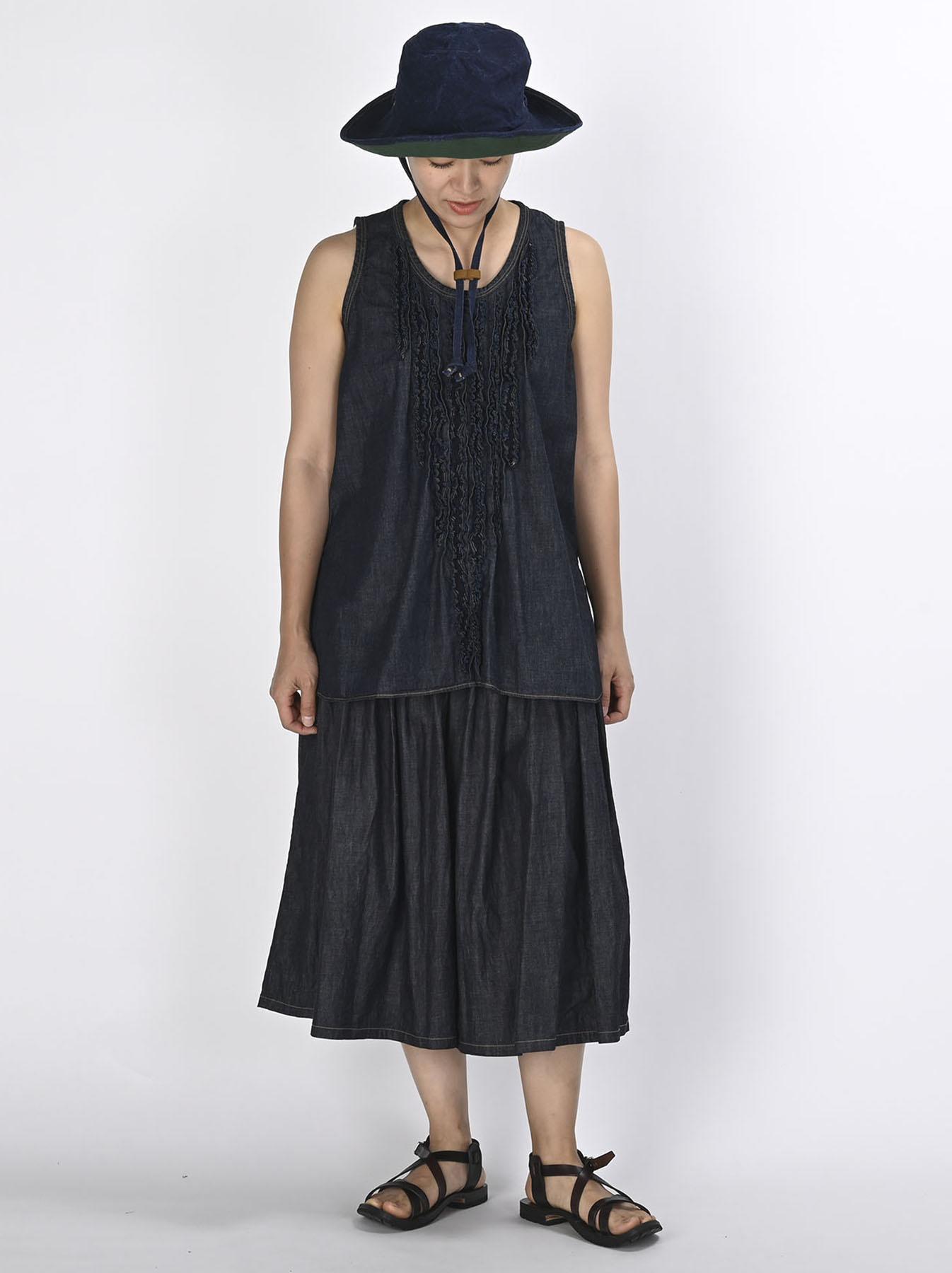 Denim Gathered Culottes Skirt(0721)-2