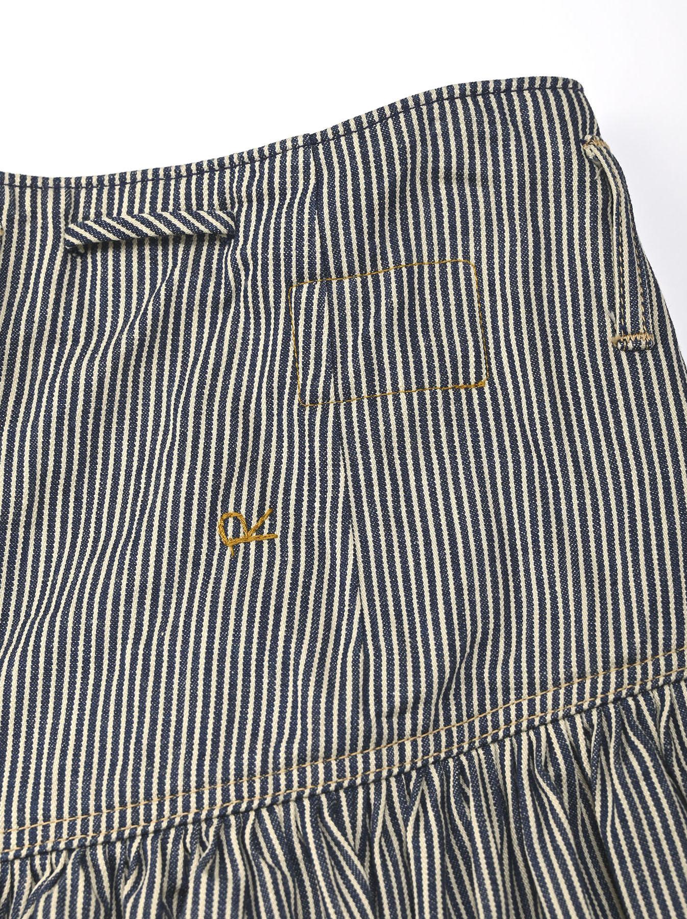 Denim Gathered Culottes Skirt(0721)-10