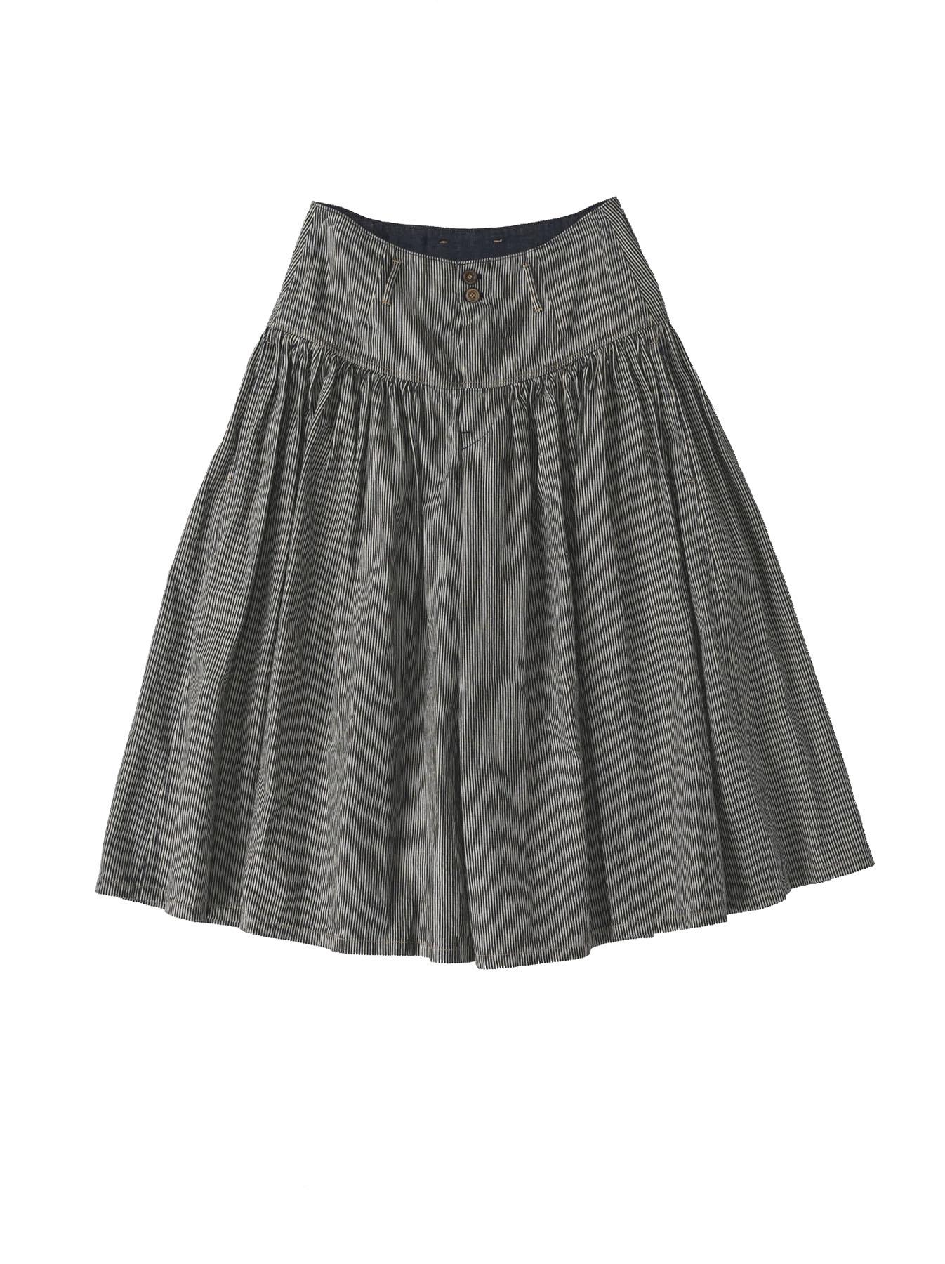 Denim Gathered Culottes Skirt(0721)-6