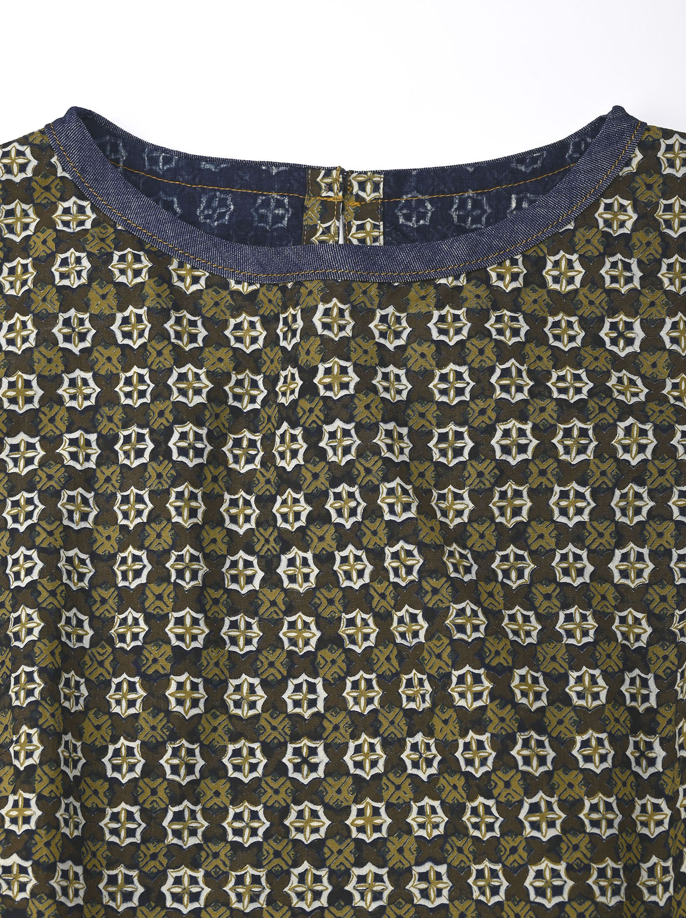 Batik Printed Gathered Dress(0721)-8