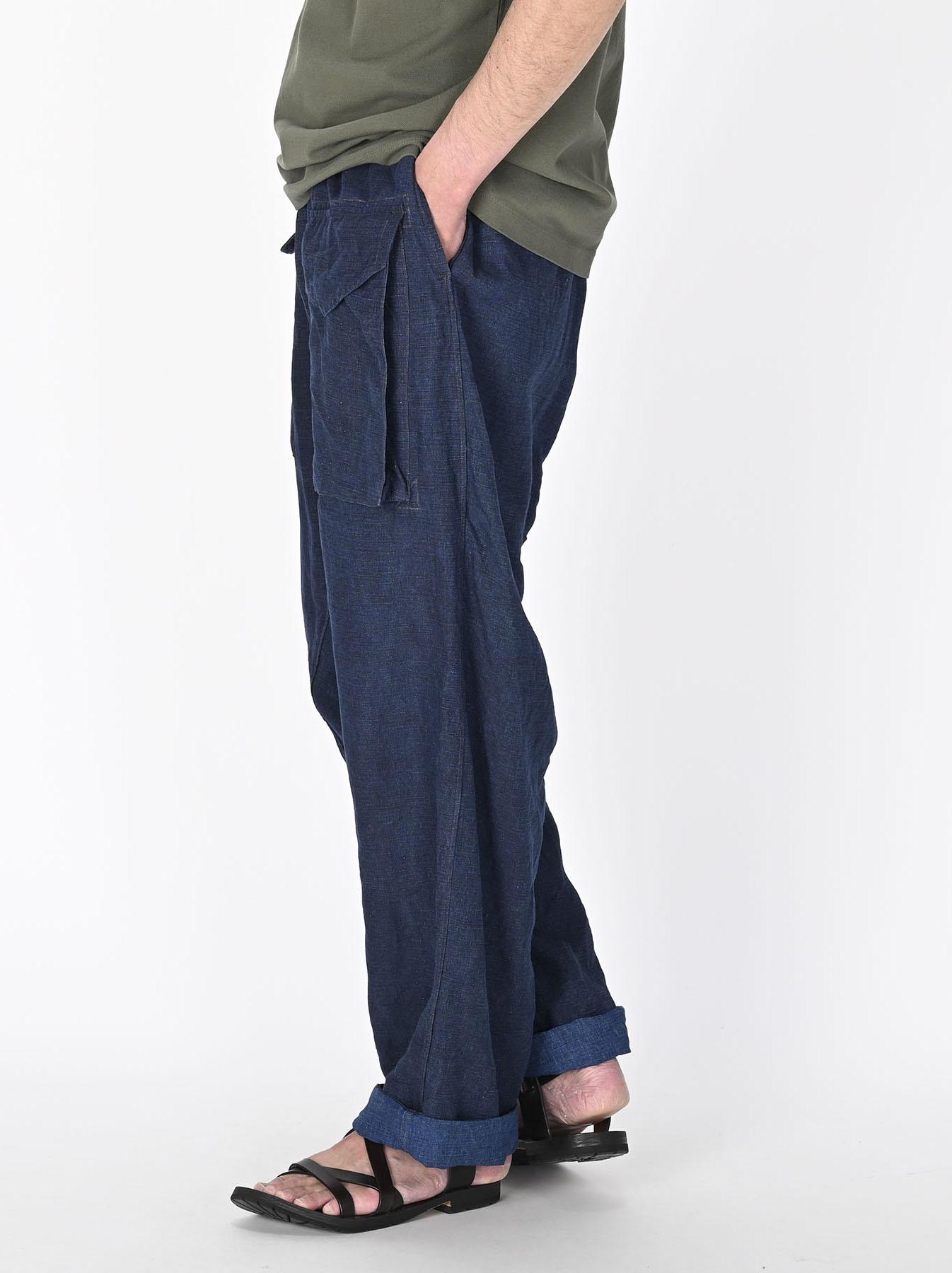 Indigo Nou Linen 908 Easy Sail Pants (0721)-4