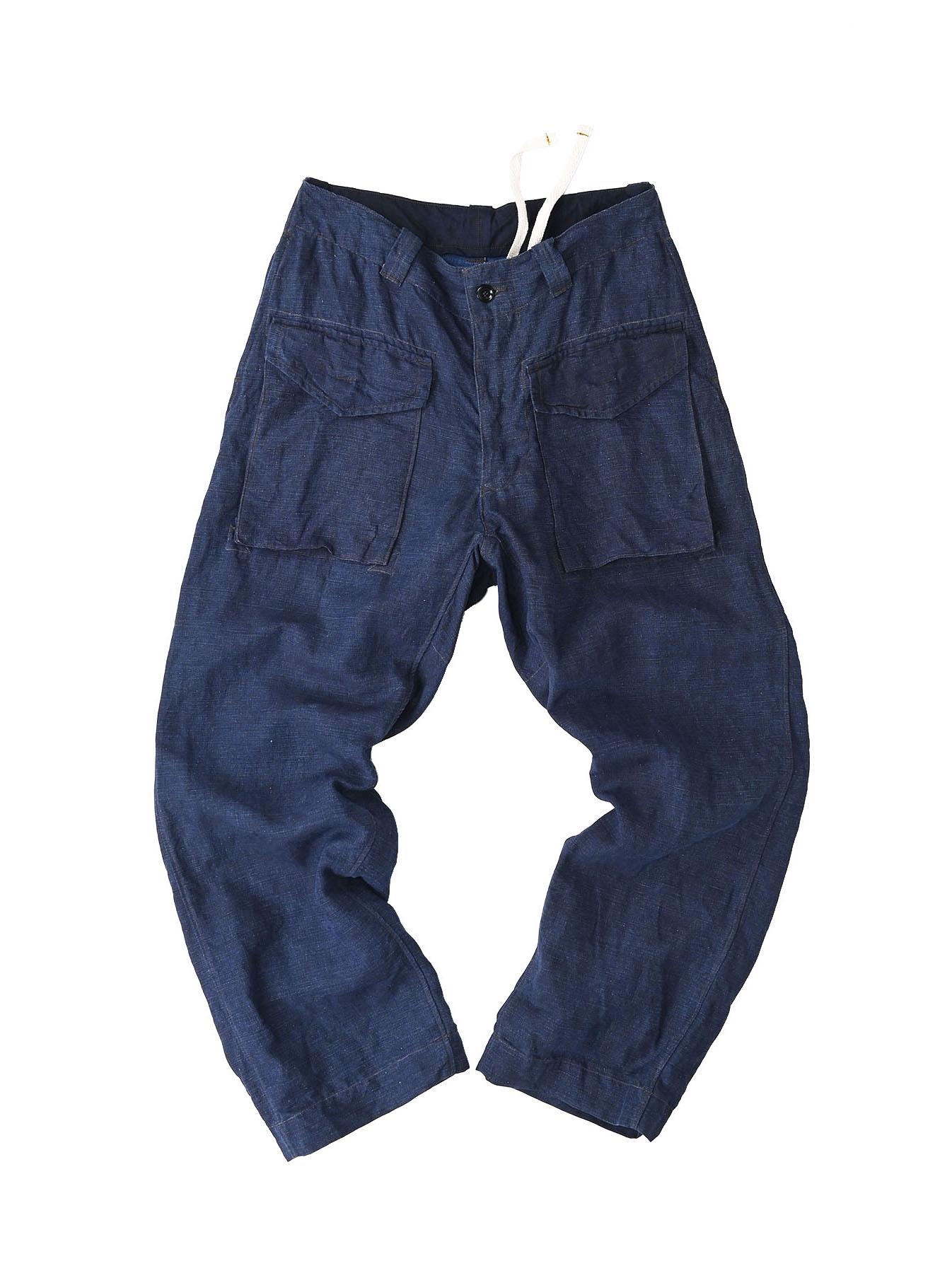Indigo Nou Linen 908 Easy Sail Pants (0721)-1