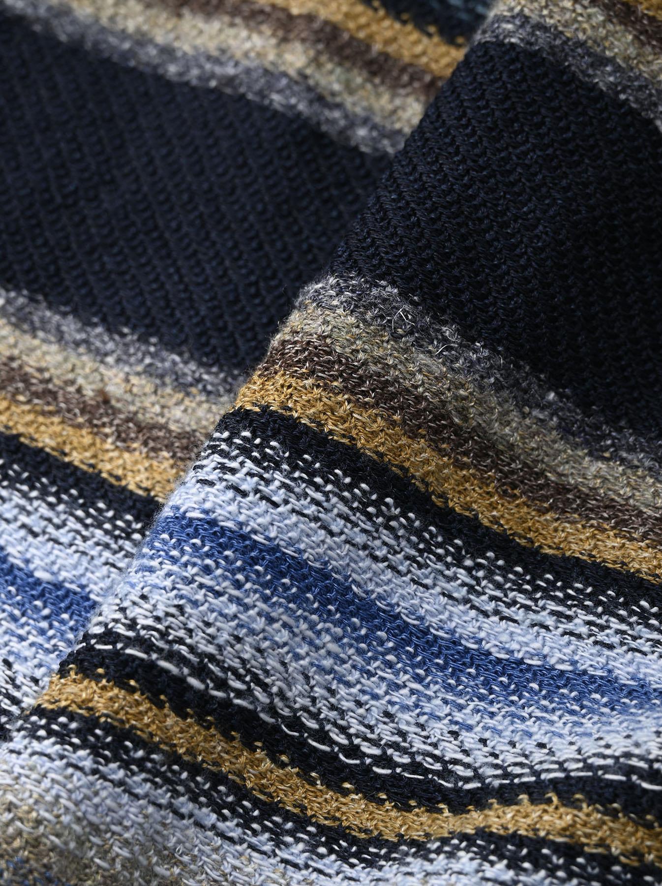 Indigo Rainbow Stripe Knit-sew 908 Umahiko Hoodie (0721)-11