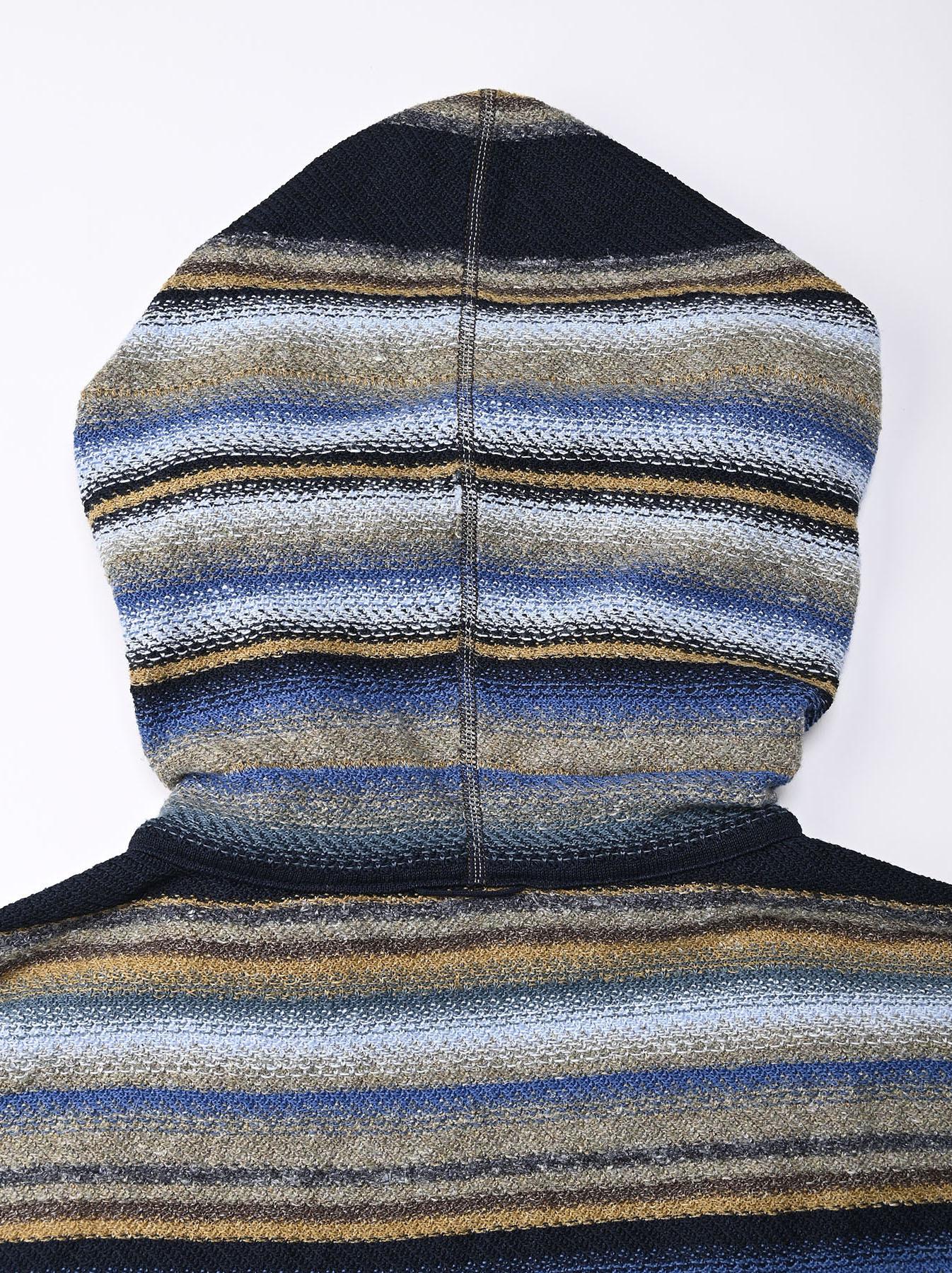 Indigo Rainbow Stripe Knit-sew 908 Umahiko Hoodie (0721)-10