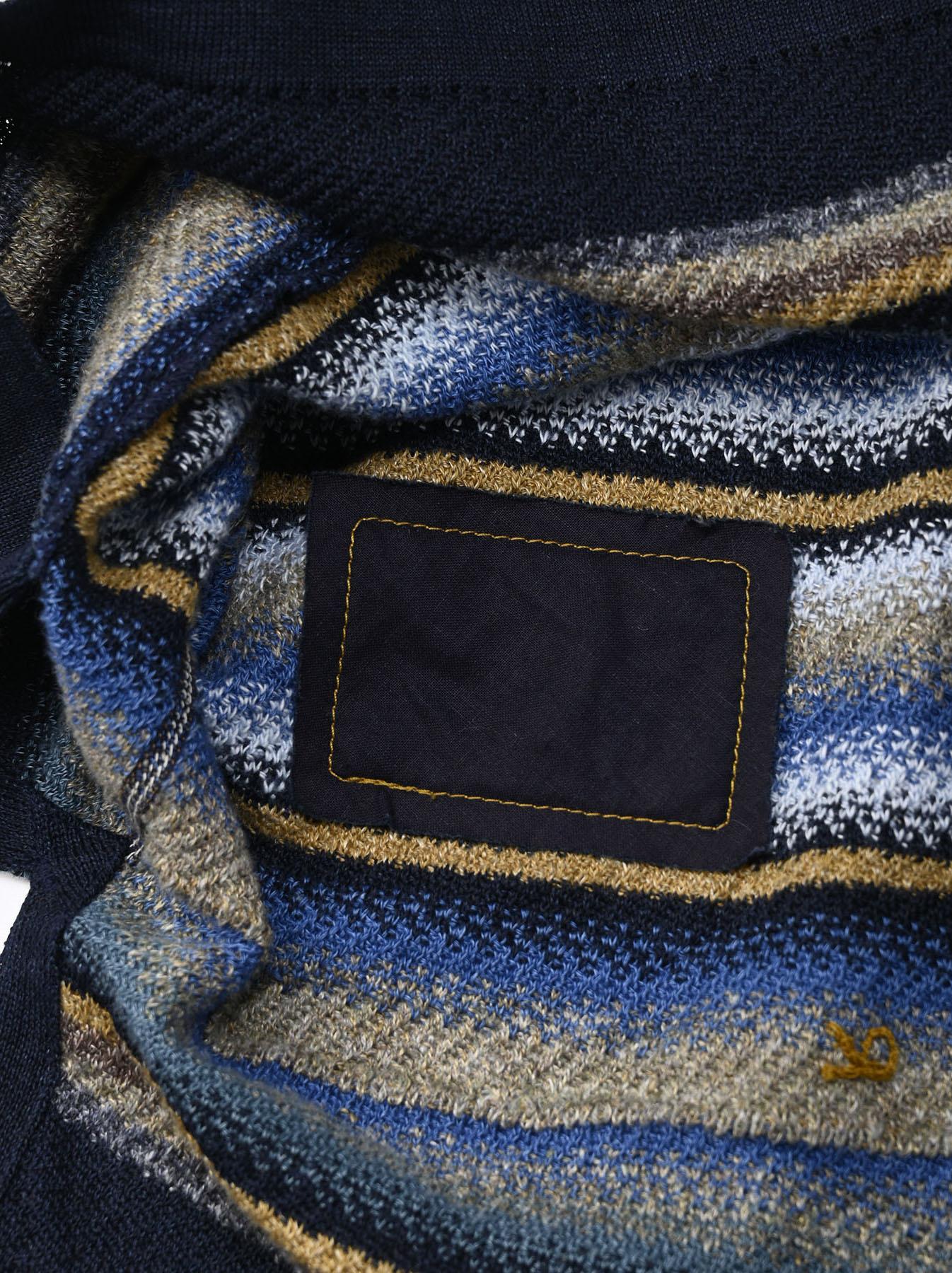Indigo Rainbow Stripe Knit-sew 908 Umahiko Hoodie (0721)-12