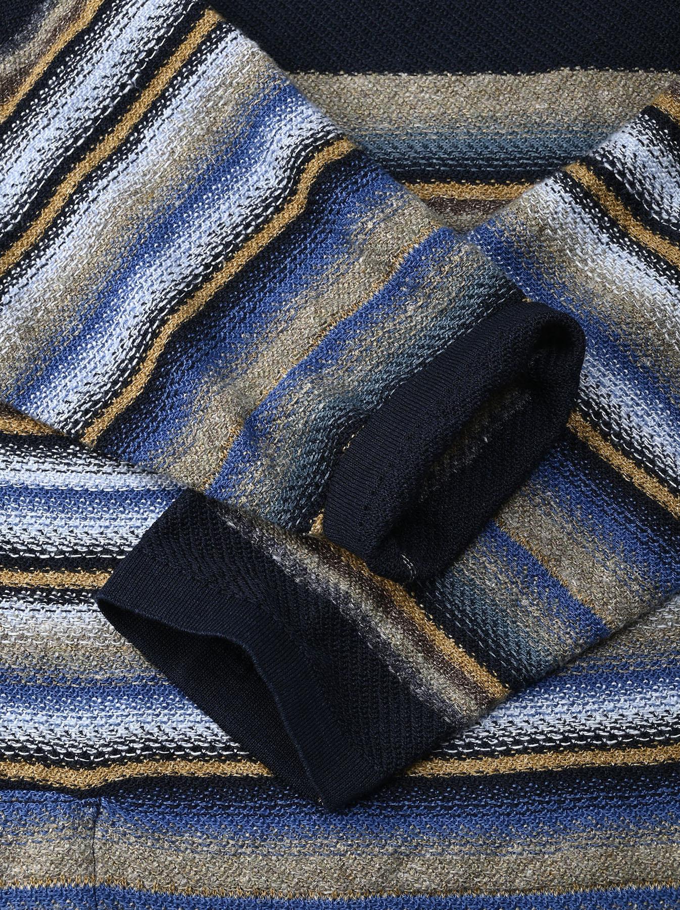 Indigo Rainbow Stripe Knit-sew 908 Umahiko Hoodie (0721)-9