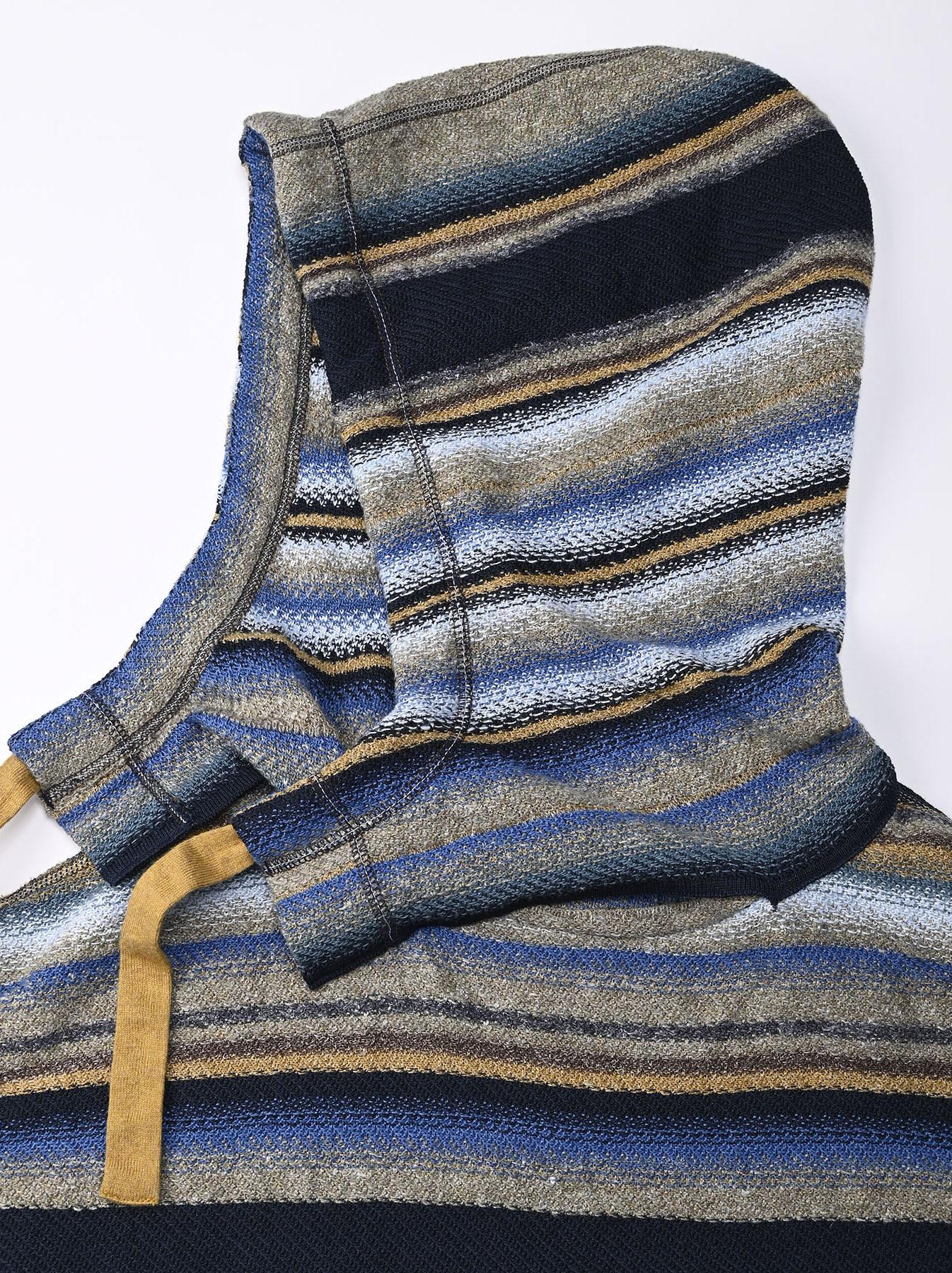 Indigo Rainbow Stripe Knit-sew 908 Umahiko Hoodie (0721)-8