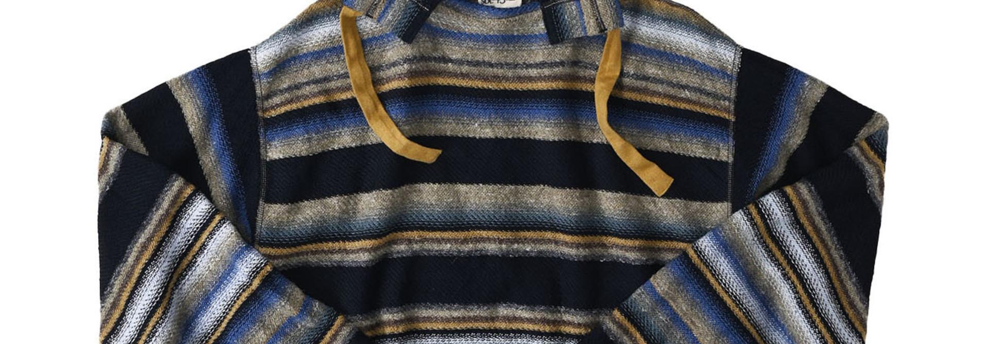 Indigo Rainbow Stripe Knit-sew 908 Umahiko Hoodie (0721)