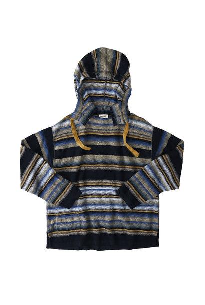Indigo Rainbow Stripe Knit-sew 908 Umahiko Hoodie