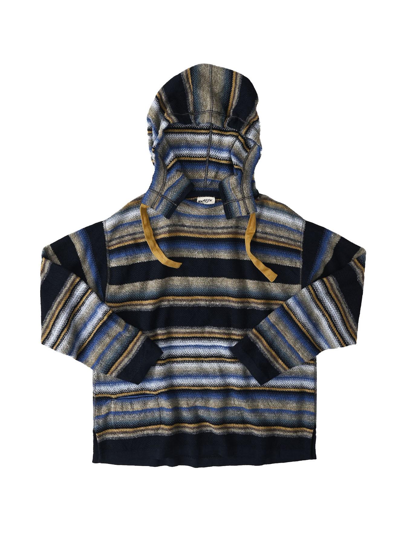 Indigo Rainbow Stripe Knit-sew 908 Umahiko Hoodie (0721)-1