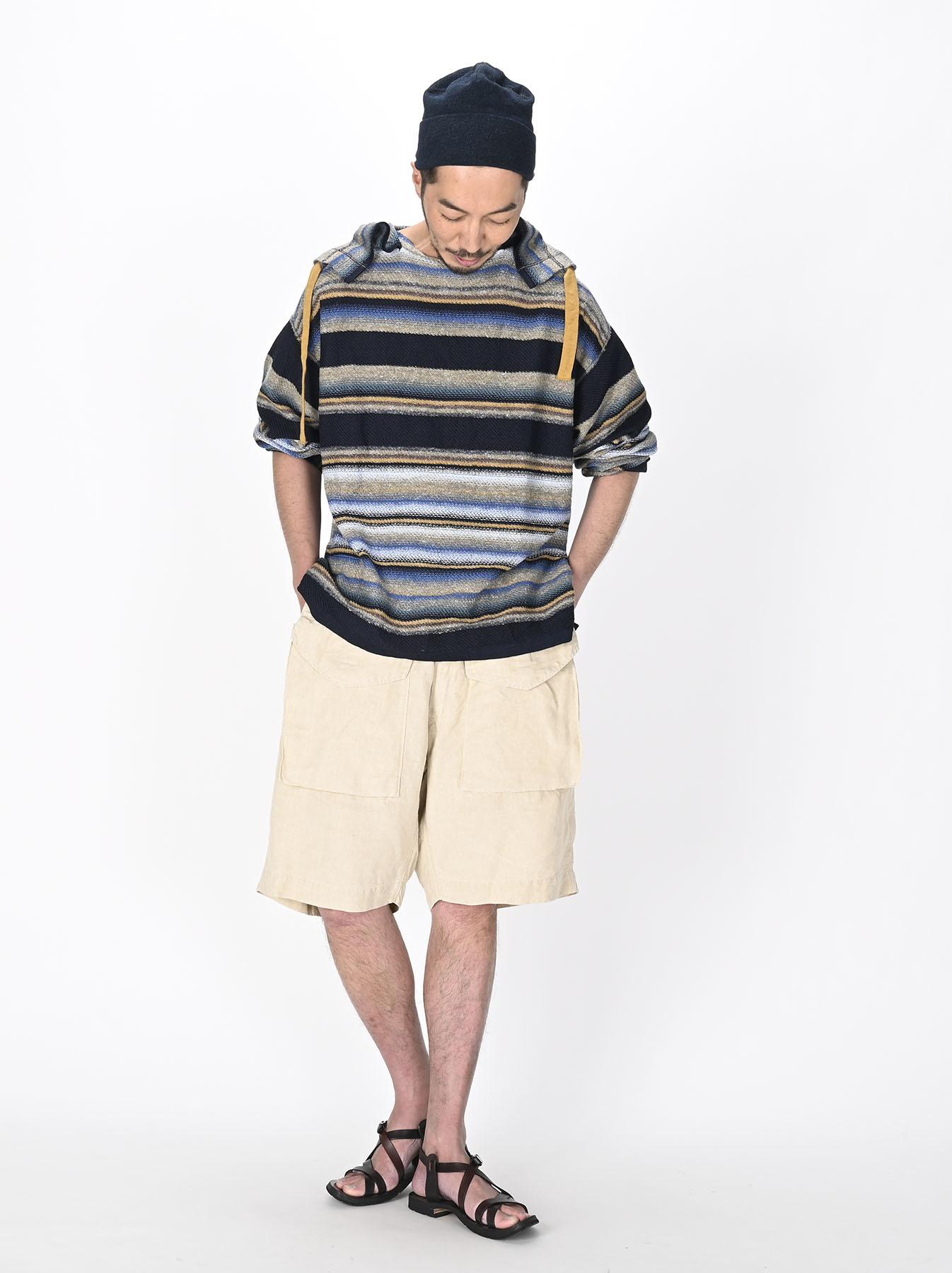 Indigo Rainbow Stripe Knit-sew 908 Umahiko Hoodie (0721)-5