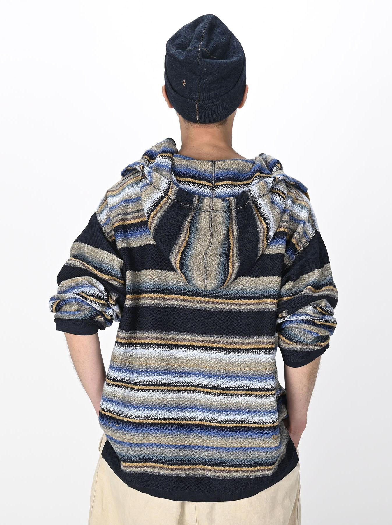 Indigo Rainbow Stripe Knit-sew 908 Umahiko Hoodie (0721)-4