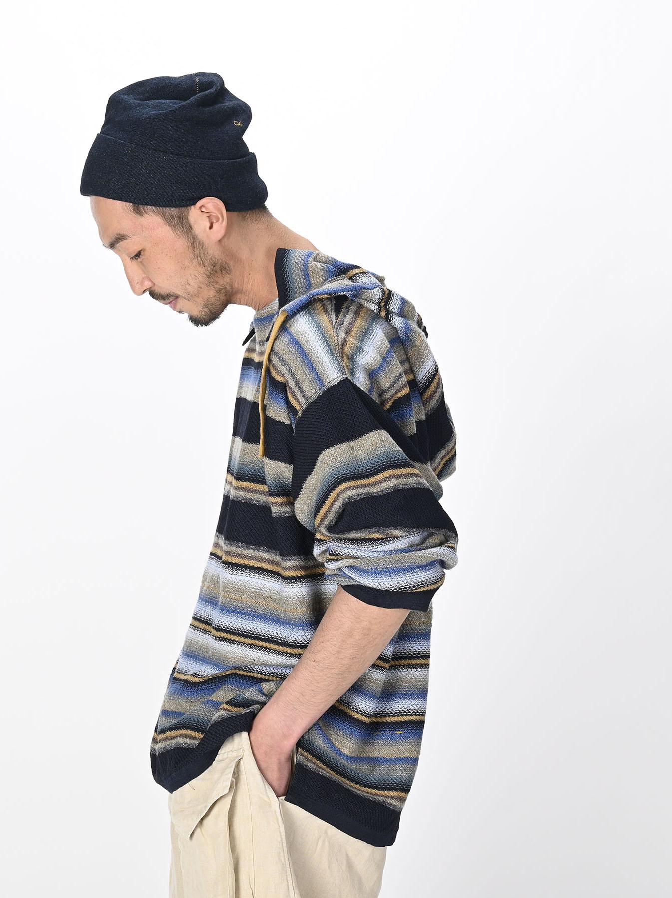 Indigo Rainbow Stripe Knit-sew 908 Umahiko Hoodie (0721)-3