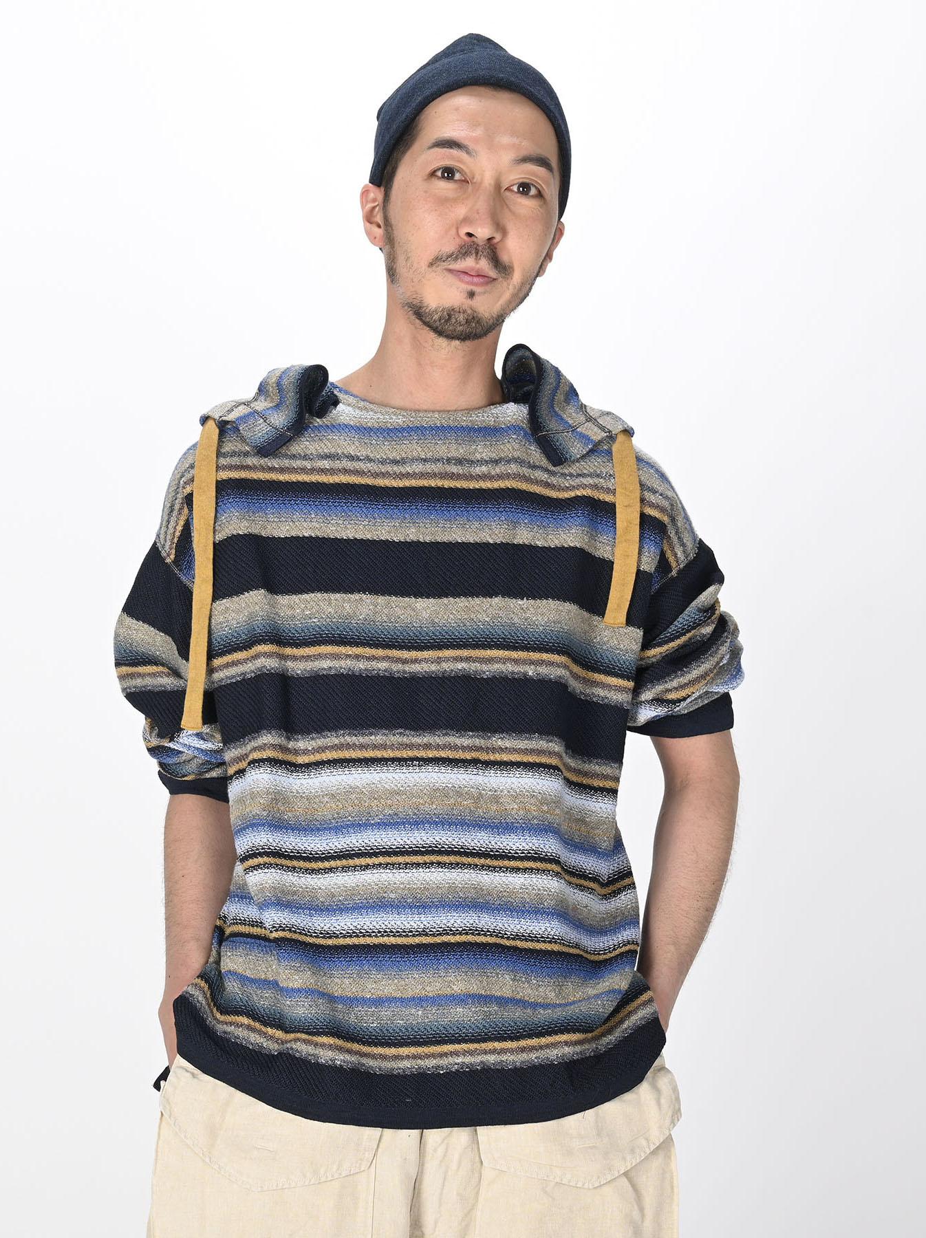 Indigo Rainbow Stripe Knit-sew 908 Umahiko Hoodie (0721)-2