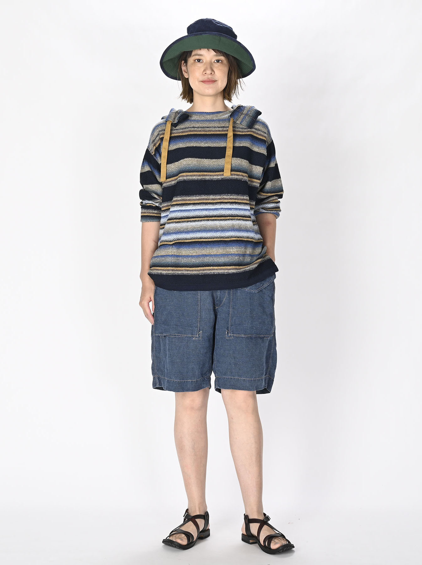 Indigo Rainbow Stripe Knit-sew 908 Umahiko Hoodie (0721)-6