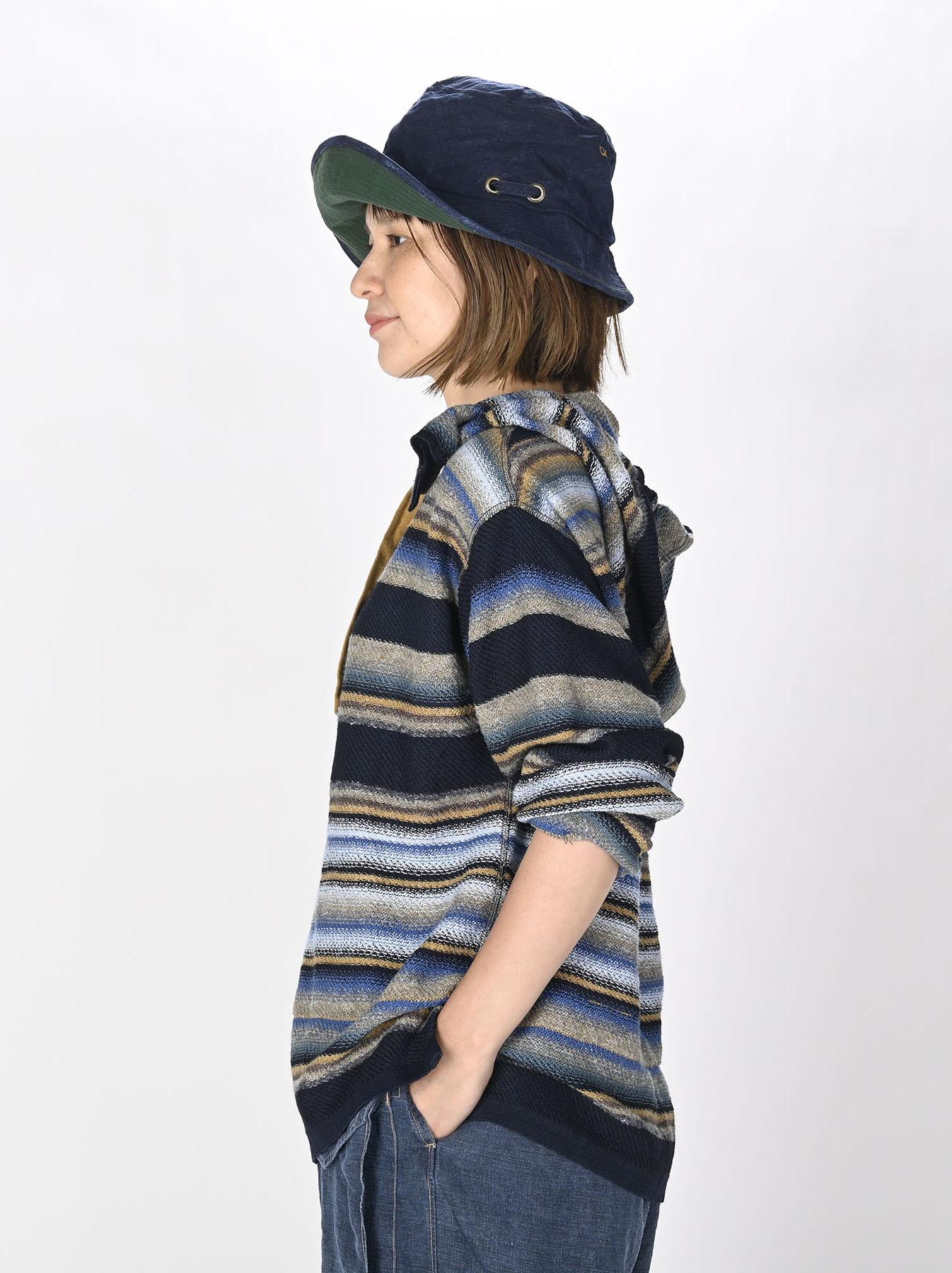Indigo Rainbow Stripe Knit-sew 908 Umahiko Hoodie (0721)-7