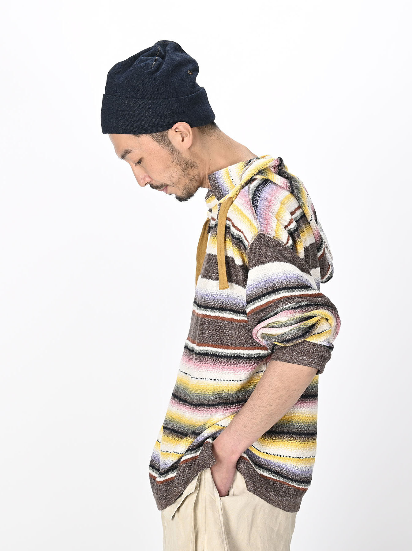 Rainbow Stripe Knit-sew 908 Umahiko Hoodie(0721)-7