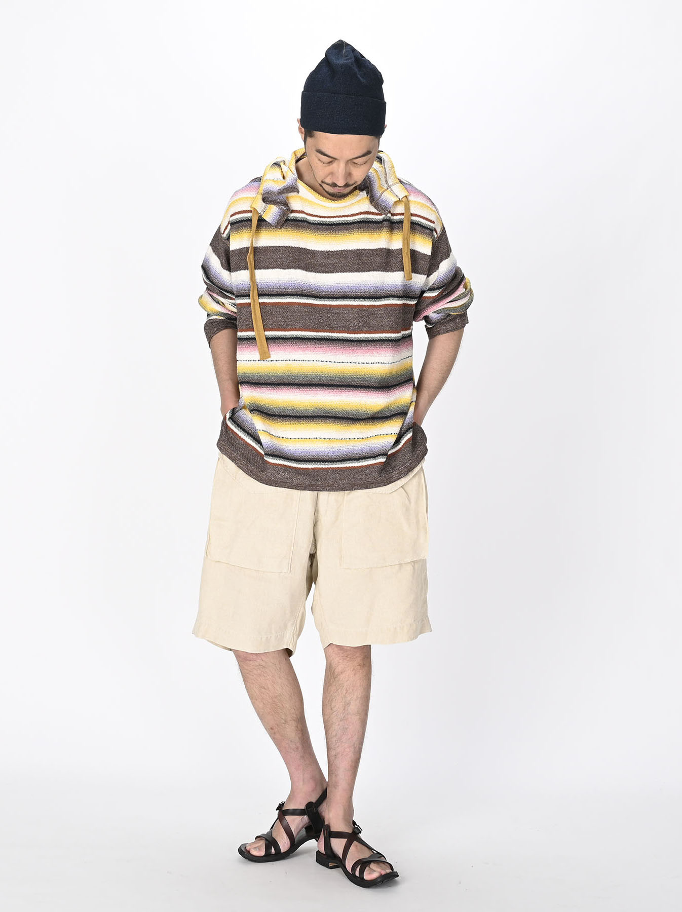Rainbow Stripe Knit-sew 908 Umahiko Hoodie(0721)-6