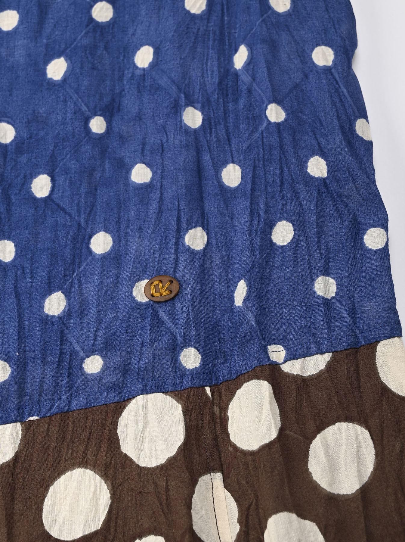 Khadi Dots Mix Block Printed Dress (0721)-9