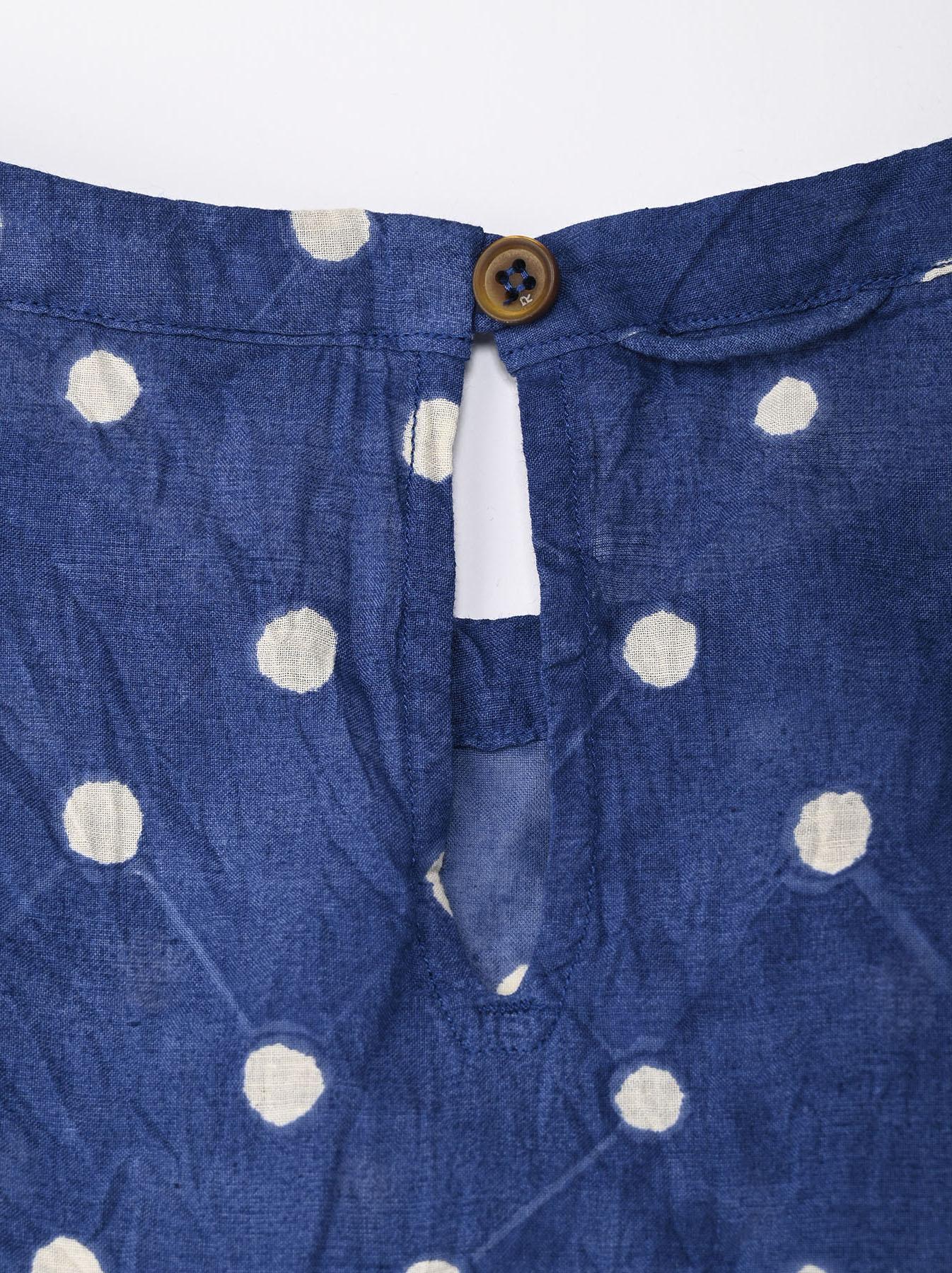 Khadi Dots Mix Block Printed Dress (0721)-8