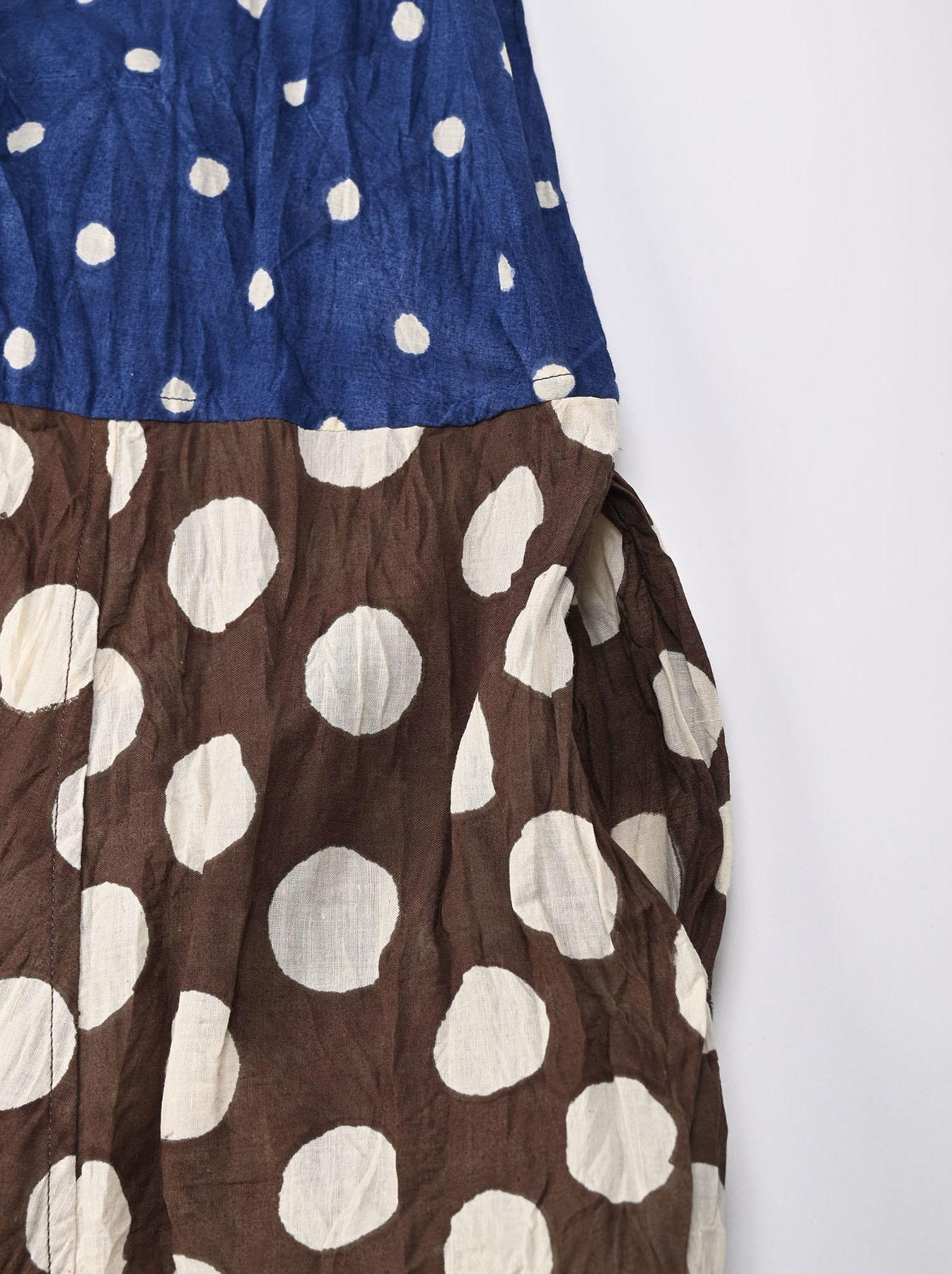 Khadi Dots Mix Block Printed Dress (0721)-6