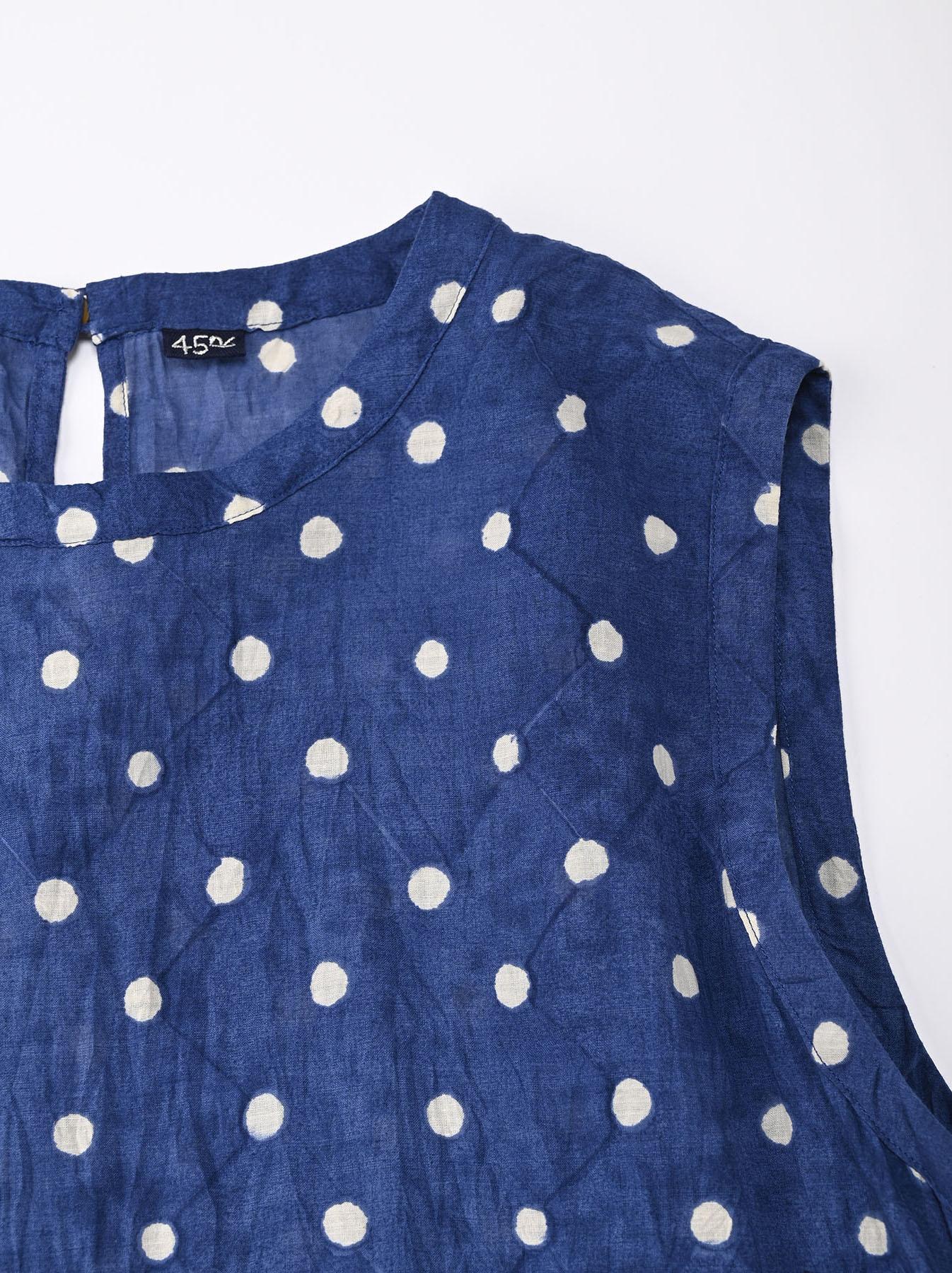 Khadi Dots Mix Block Printed Dress (0721)-5