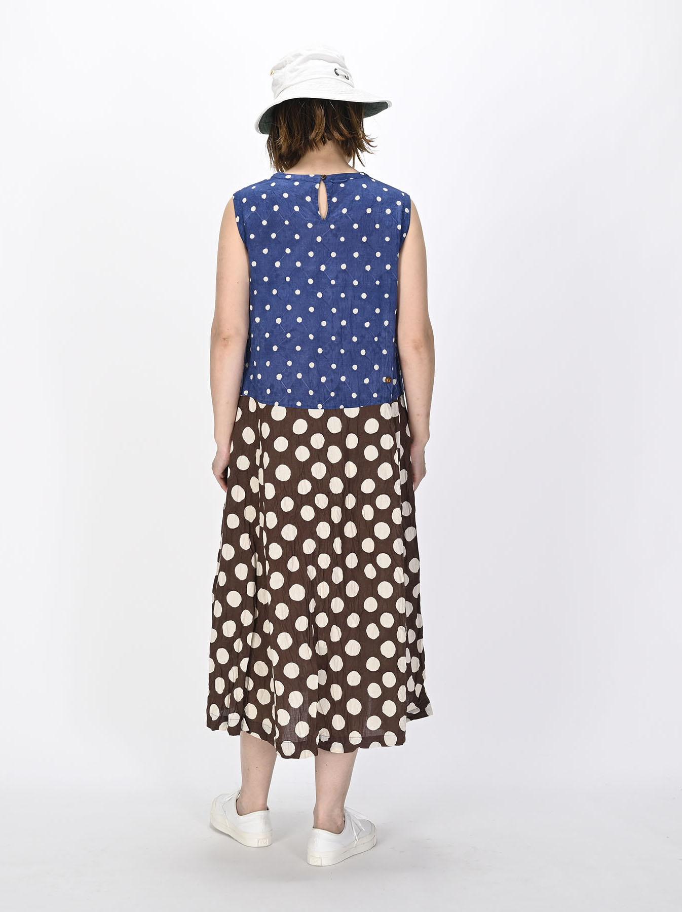 Khadi Dots Mix Block Printed Dress (0721)-4