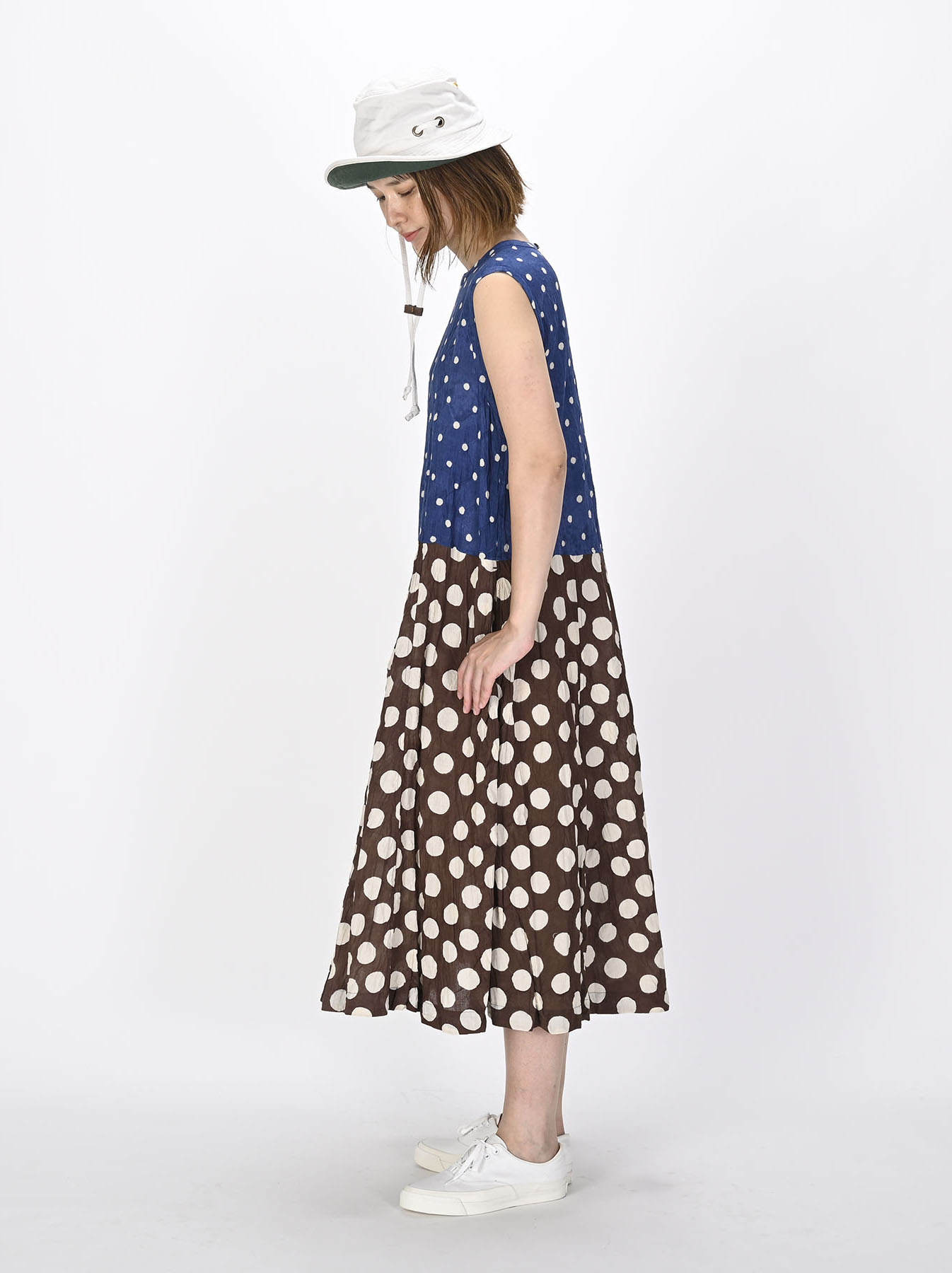 Khadi Dots Mix Block Printed Dress (0721)-3