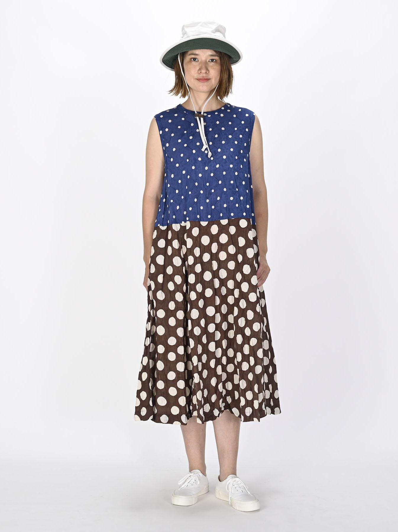 Khadi Dots Mix Block Printed Dress (0721)-2