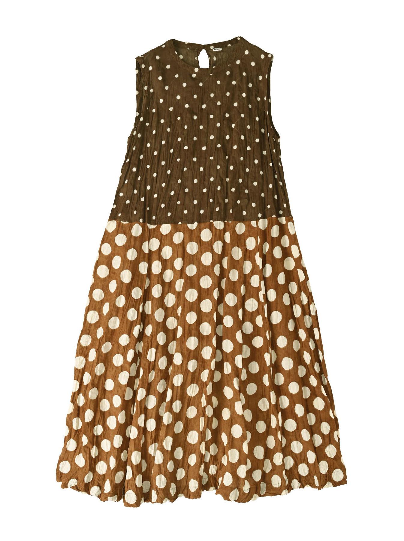 Khadi Dots Mix Block Printed Dress (0721)-10