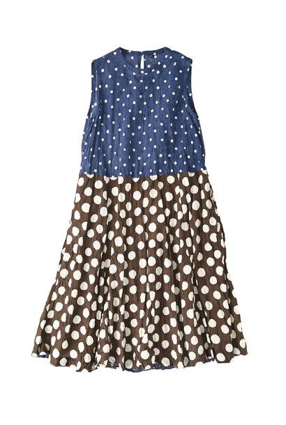 Khadi Dots Mix Block Printed Dress