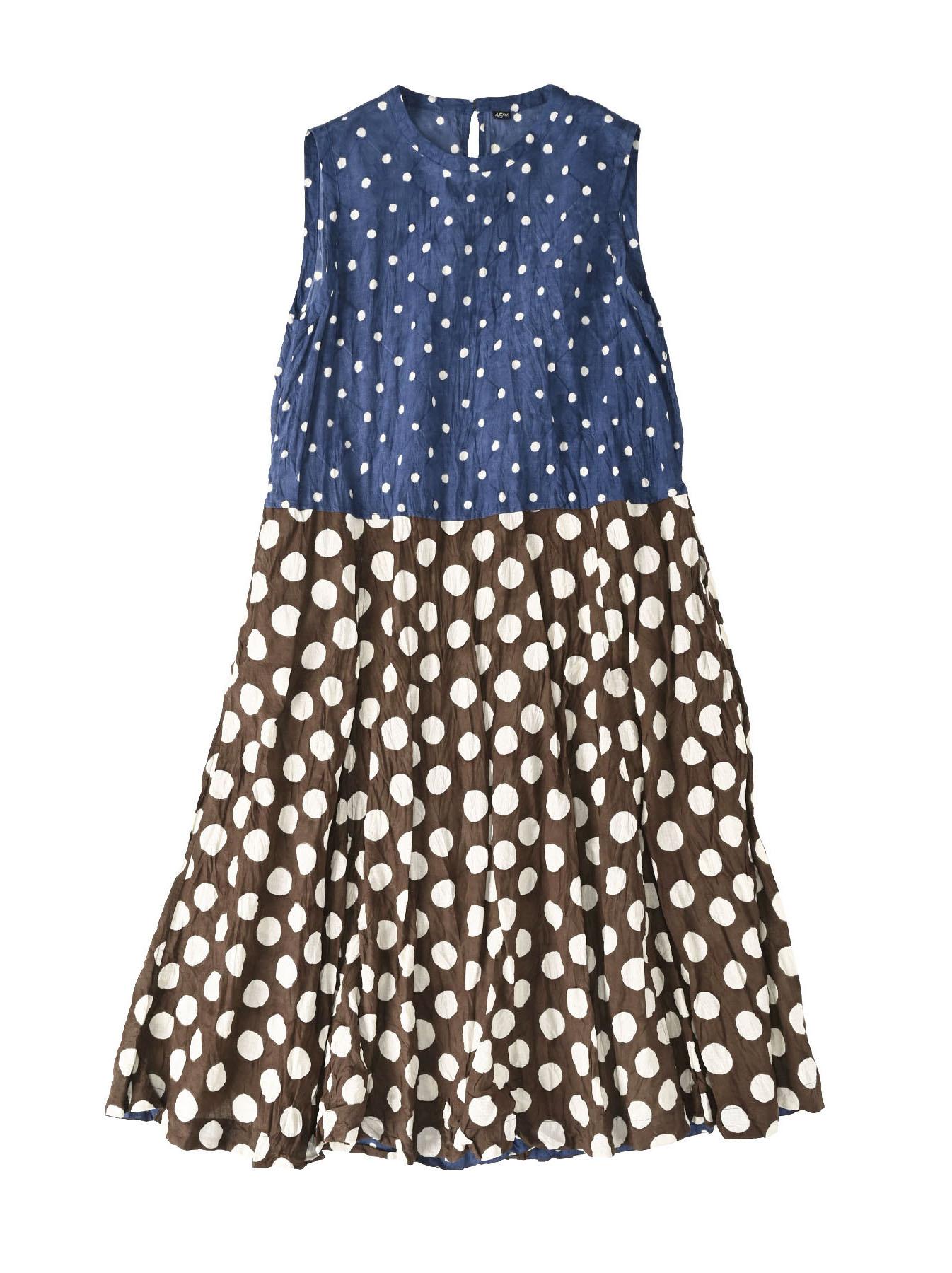 Khadi Dots Mix Block Printed Dress (0721)-1