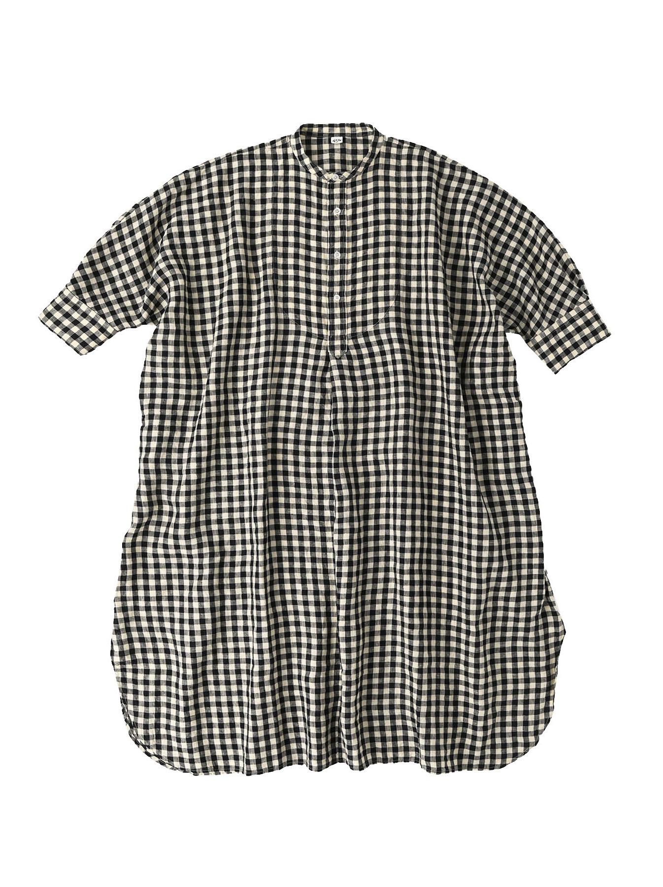 Indian Gauze Linen Big Shirt Dress-12