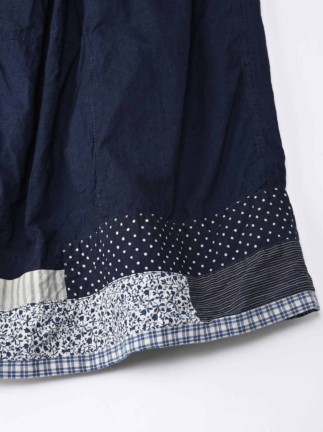 Indigo Tappet Patchwork Skirt-9