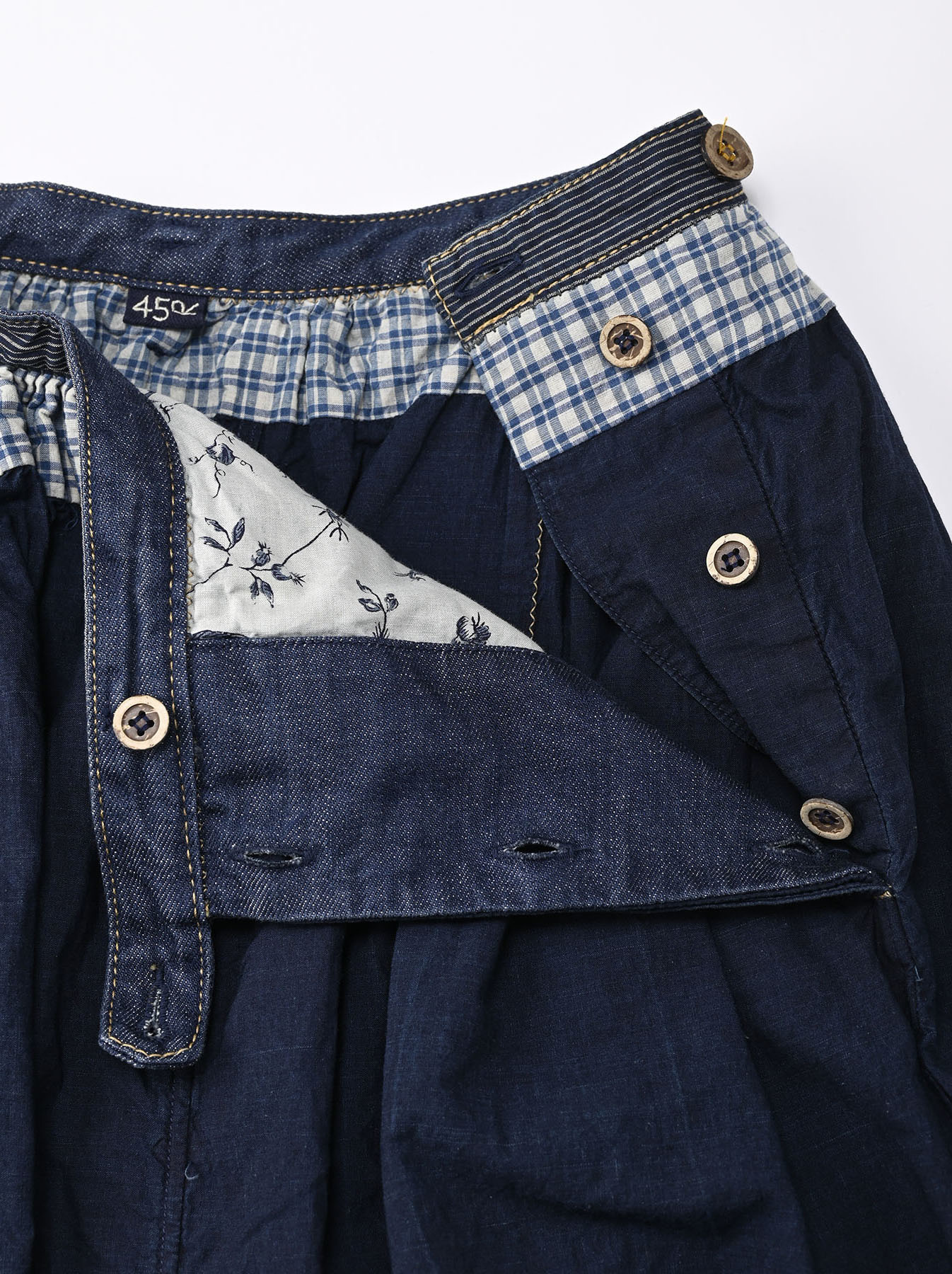 Indigo Tappet Patchwork Skirt-7