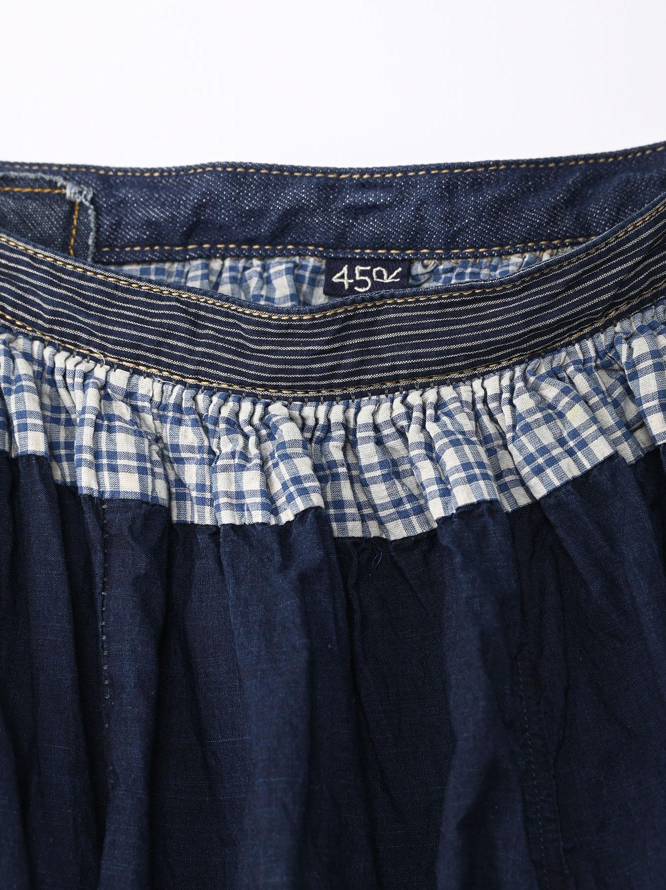 Indigo Tappet Patchwork Skirt-6