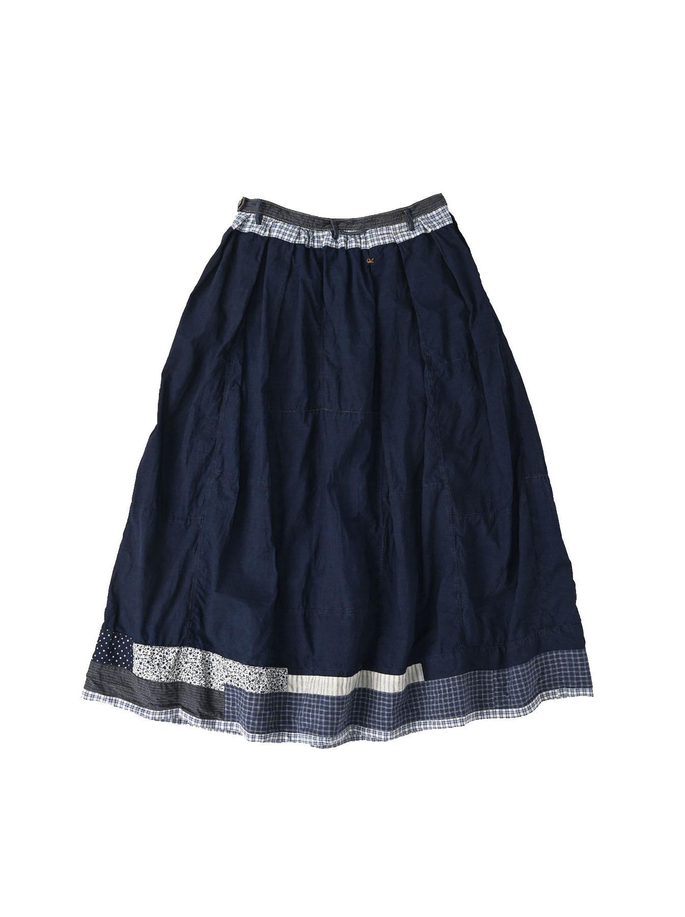 Indigo Tappet Patchwork Skirt-10
