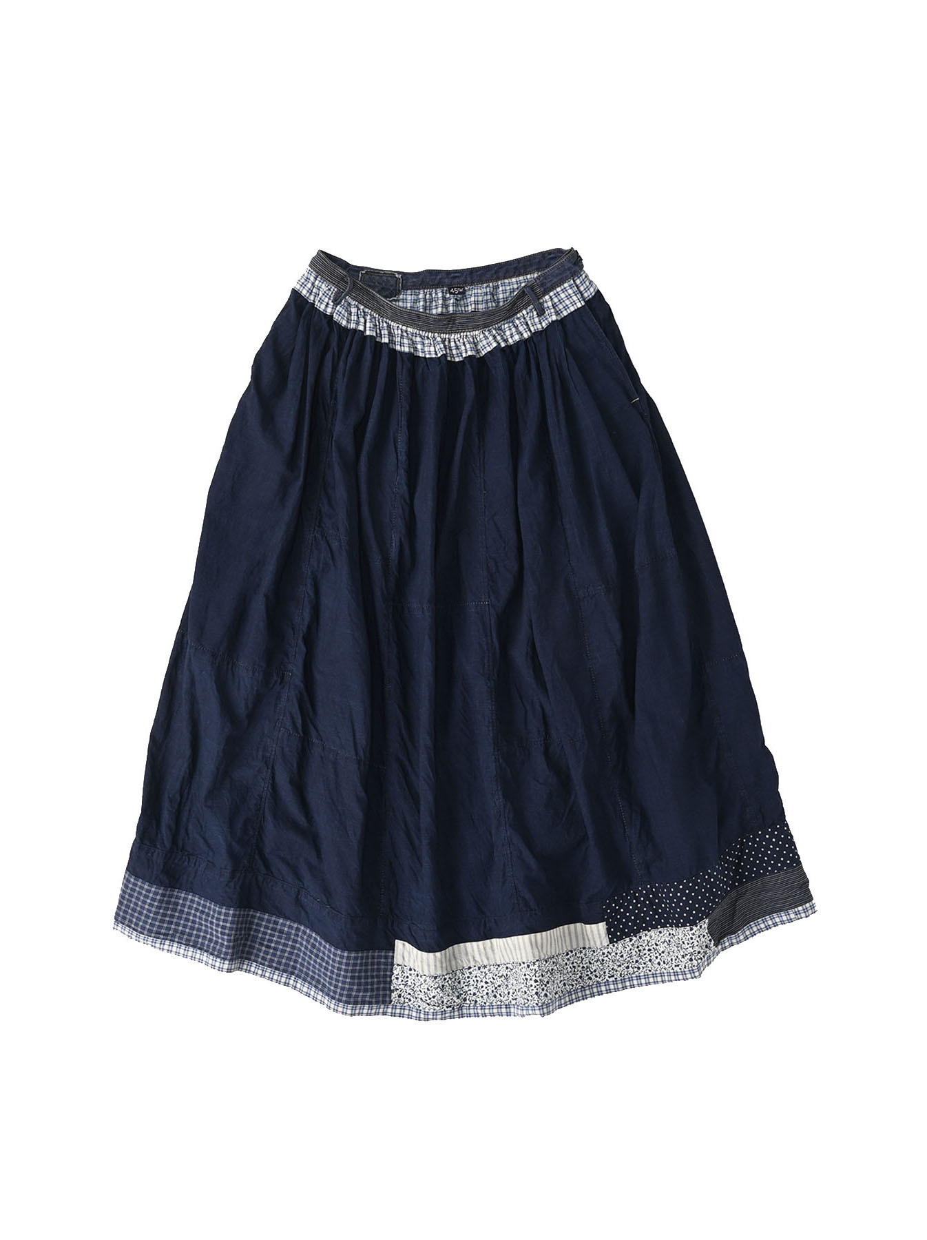 Indigo Tappet Patchwork Skirt-1