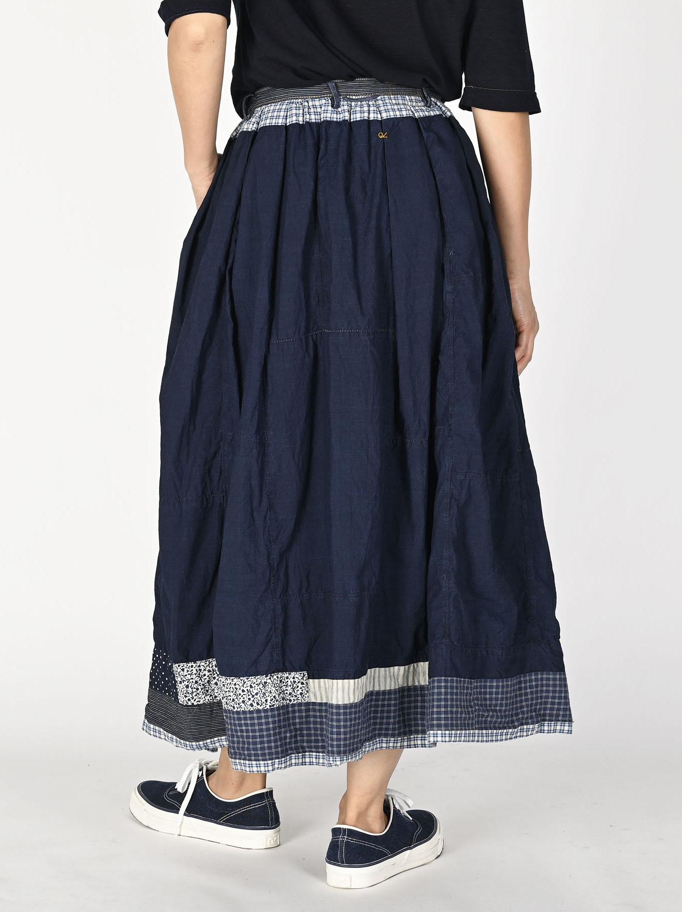 Indigo Tappet Patchwork Skirt-5