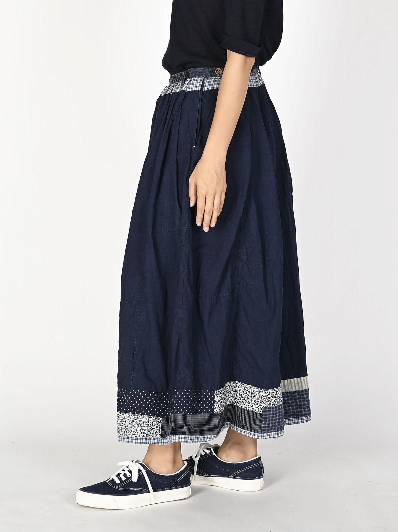 Indigo Tappet Patchwork Skirt-4