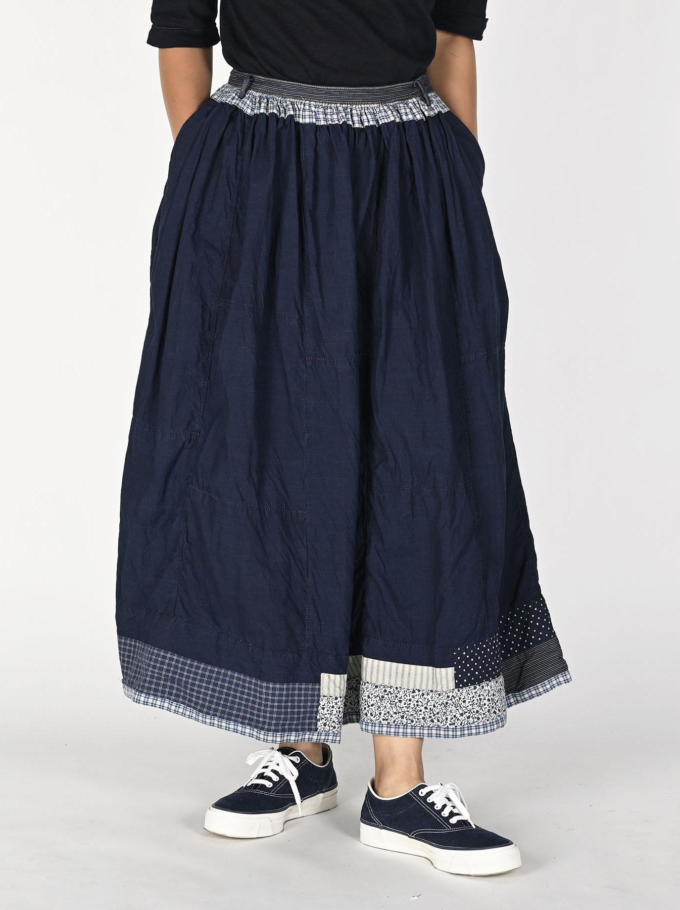 Indigo Tappet Patchwork Skirt-3