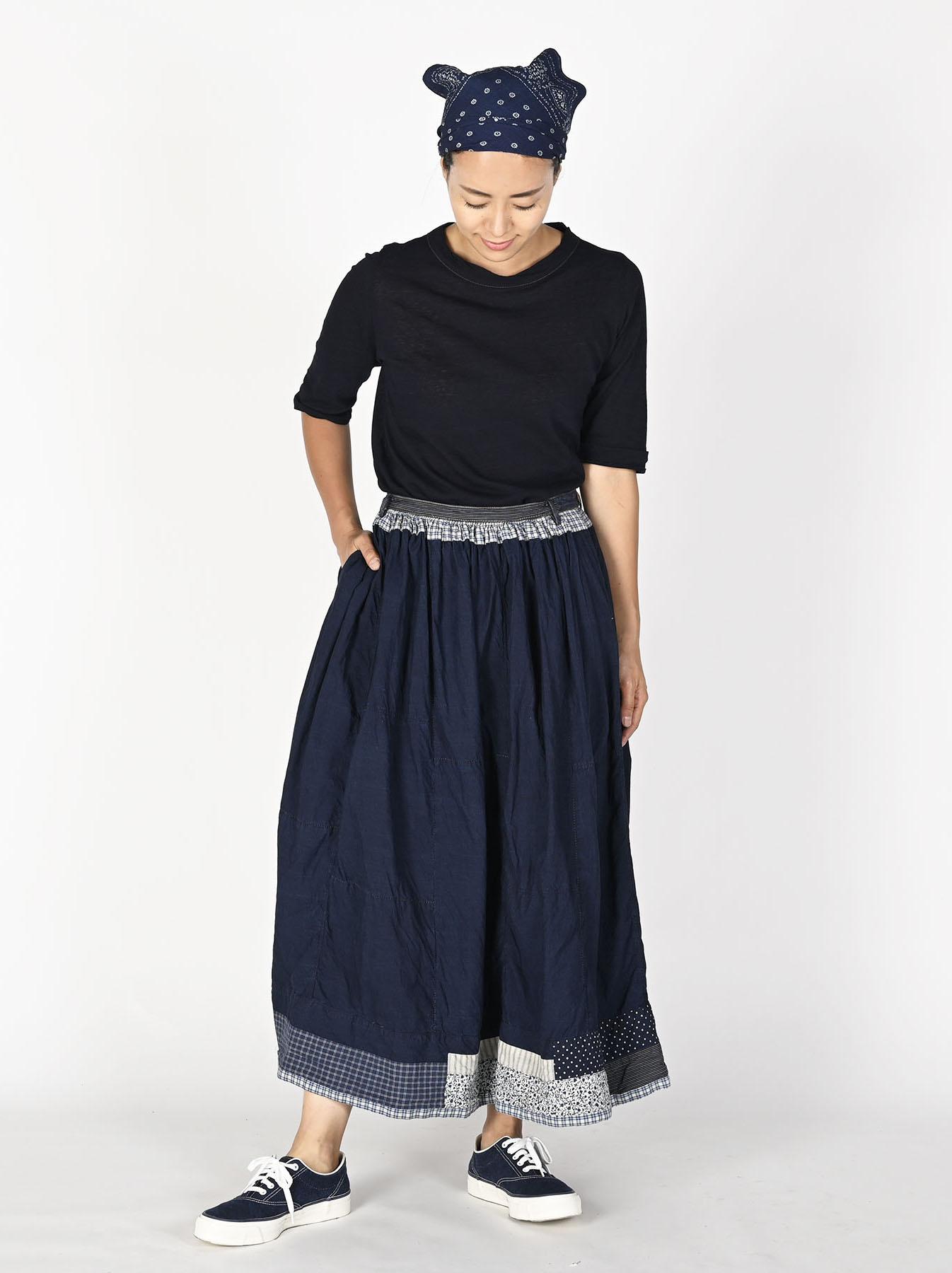 Indigo Tappet Patchwork Skirt-2